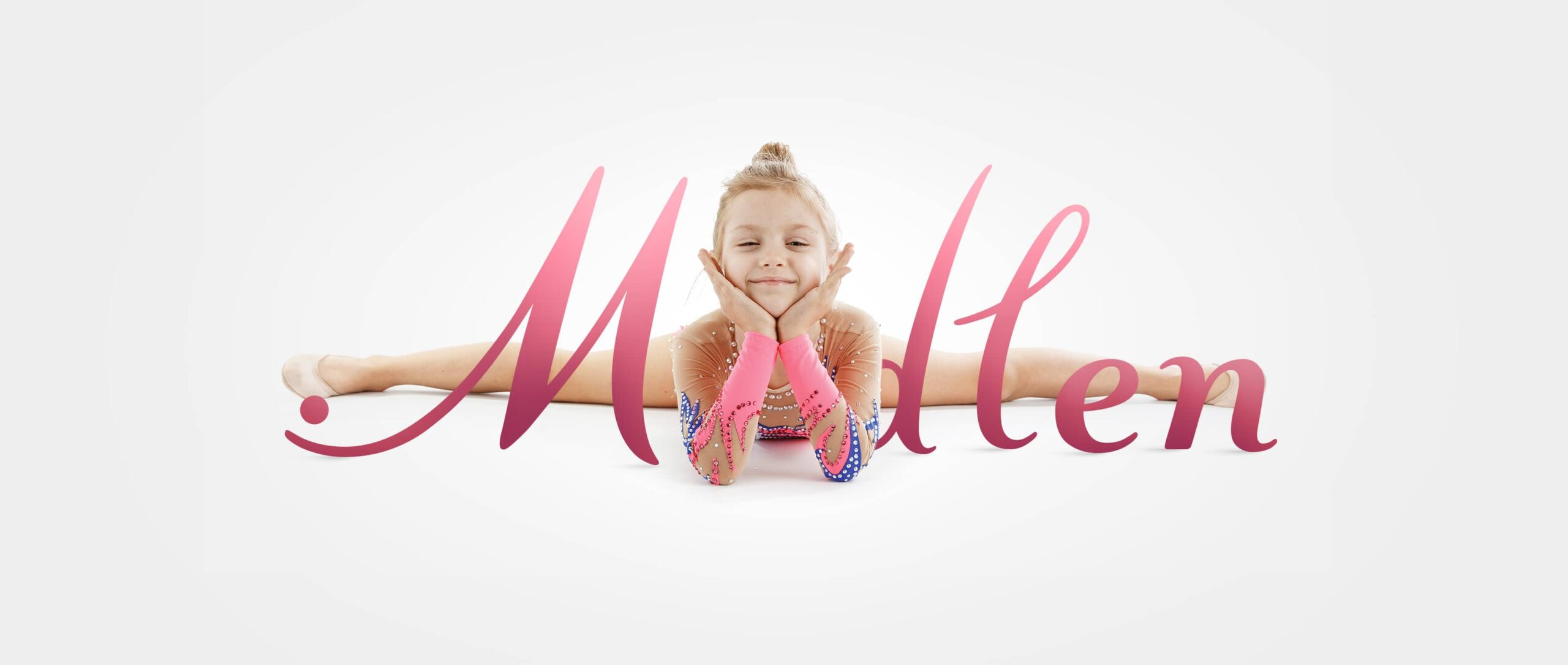 Beautiful young gymnast in twine against the Modlen logo