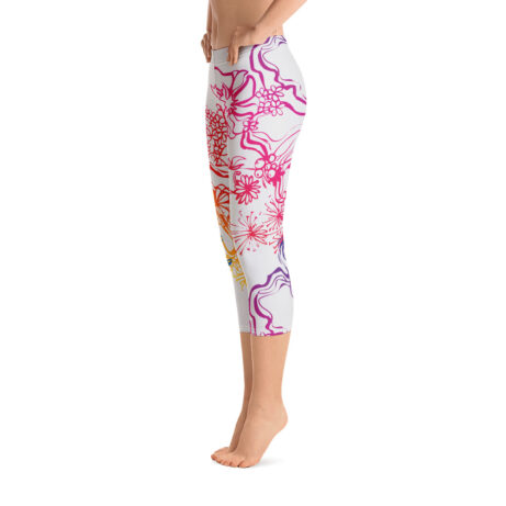 Side of Gymnastics Capri Leggings with colourful decoration