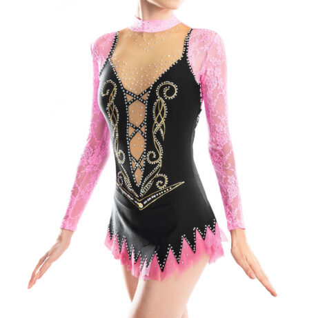Rhythmic Gymnastics Competition Leotard 111 made in black, pink, gold & mesh colors