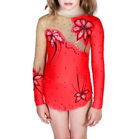 Gymnastics Leotard with Flowers made in red & black with two sleeves, solid skirt & collarless