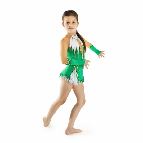 Emerald, white, gold, black, mesh Rhythmic Gymnastics Leotard 117 for competitions