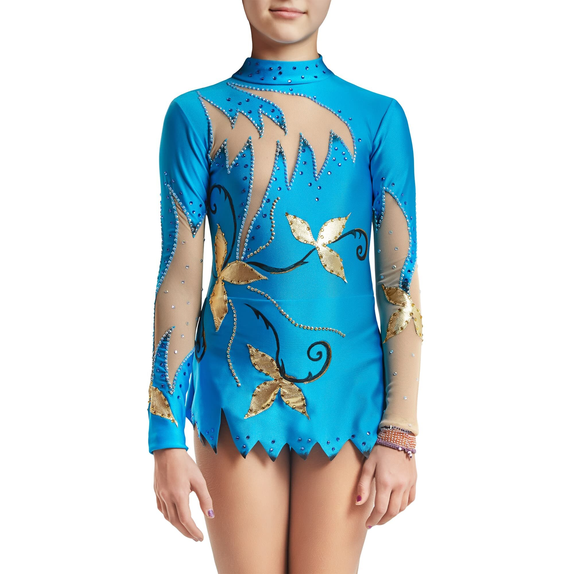 Blue, gold, black Rhythmic Gymnastics Leotard 118 for competitions