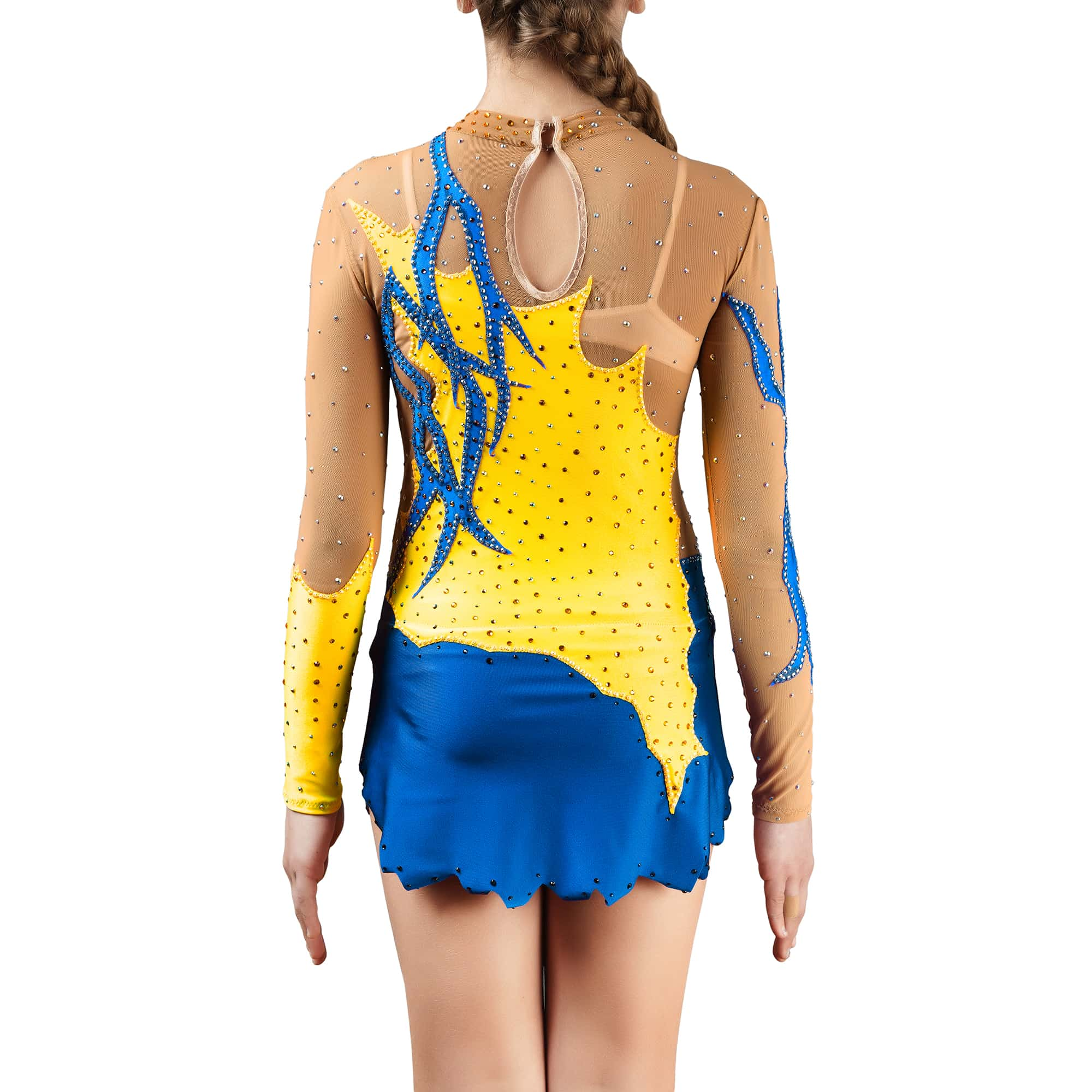 Back of blue & yellow rhythmic gymnastics leotard № 119 for competitions