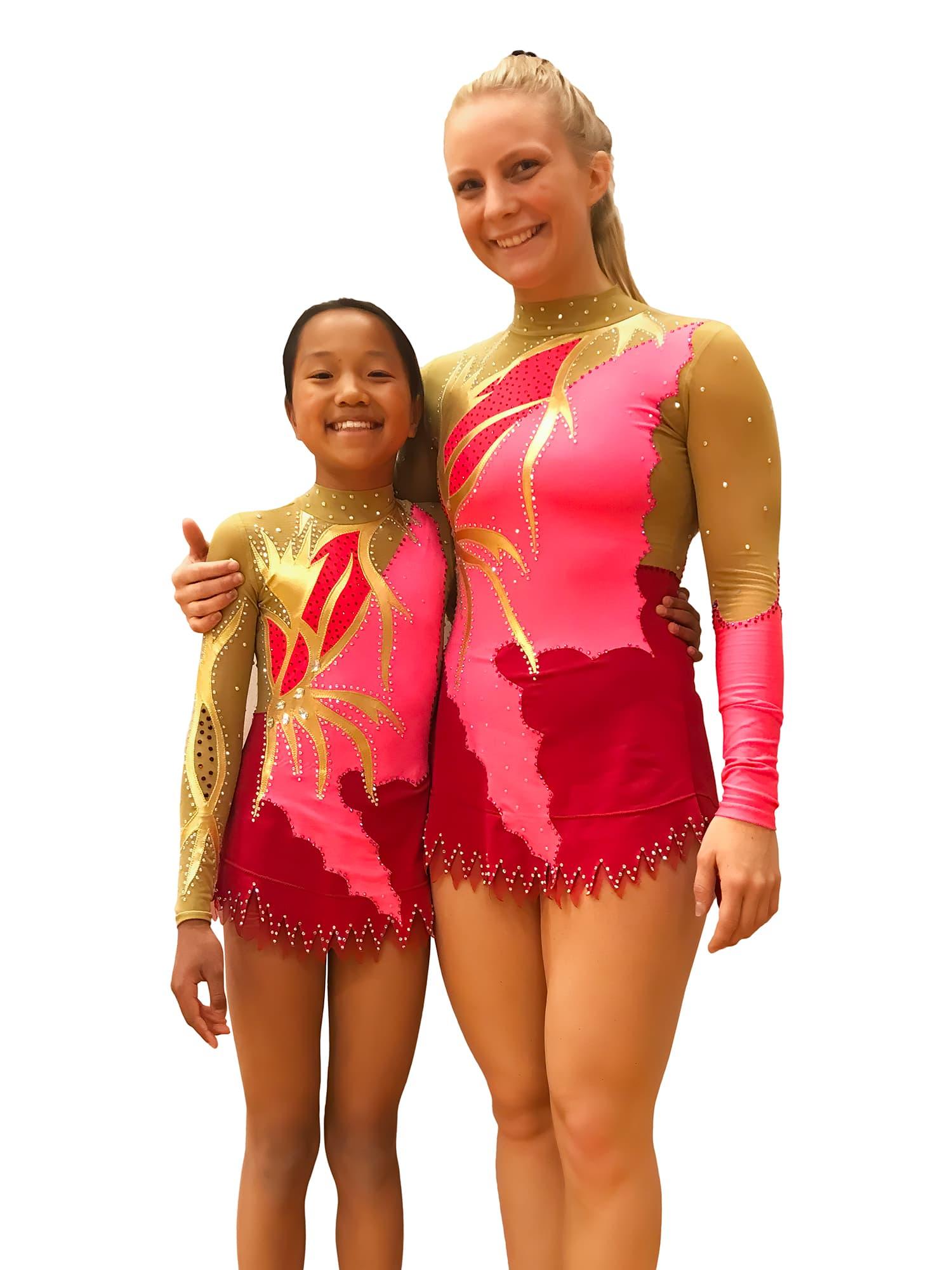 Duo gymnasts at rhythmic gymnastics leotard № 119 for competitions