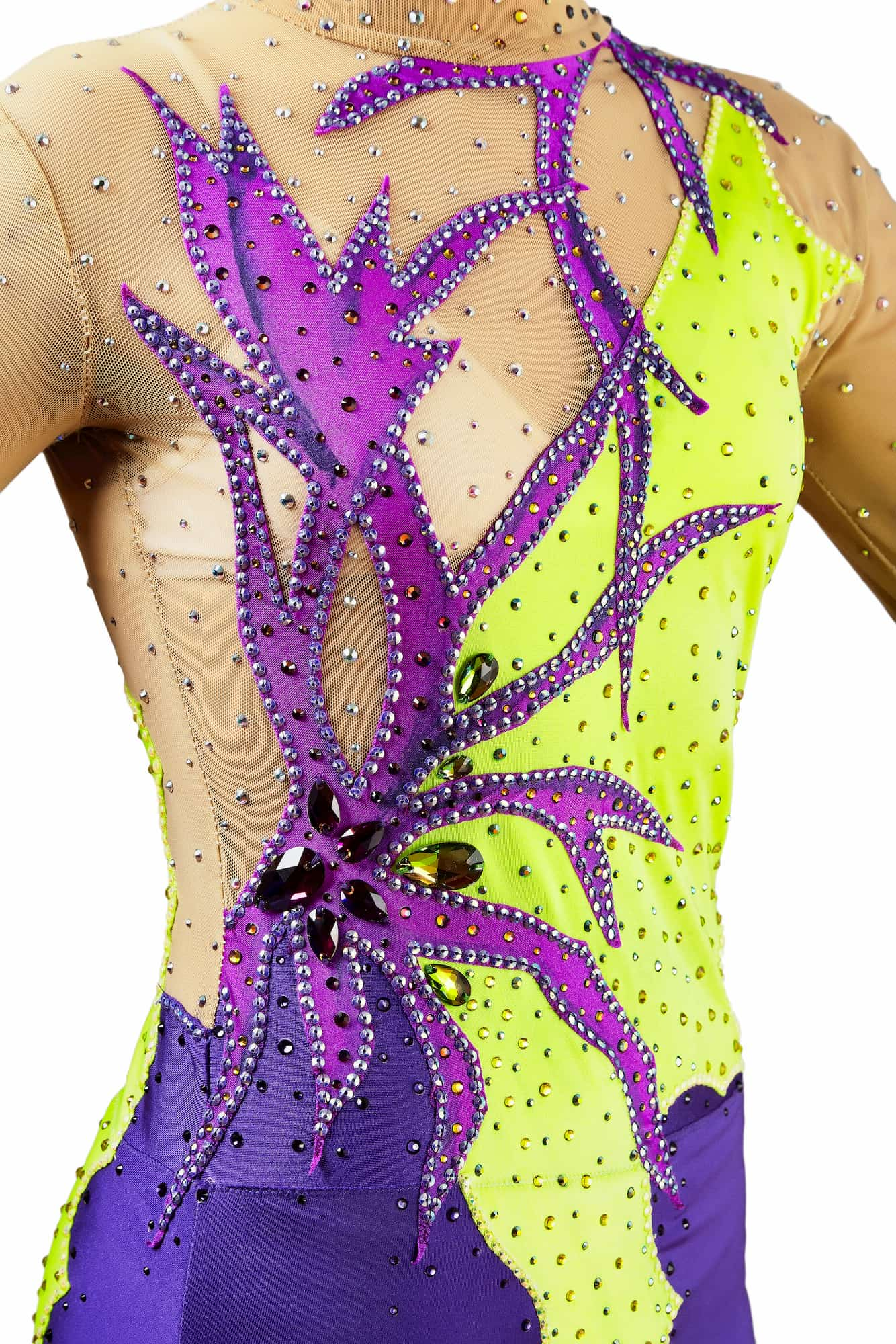 Abstract details of lemon, purple, ink rhythmic gymnastics leotard № 119 for competitions