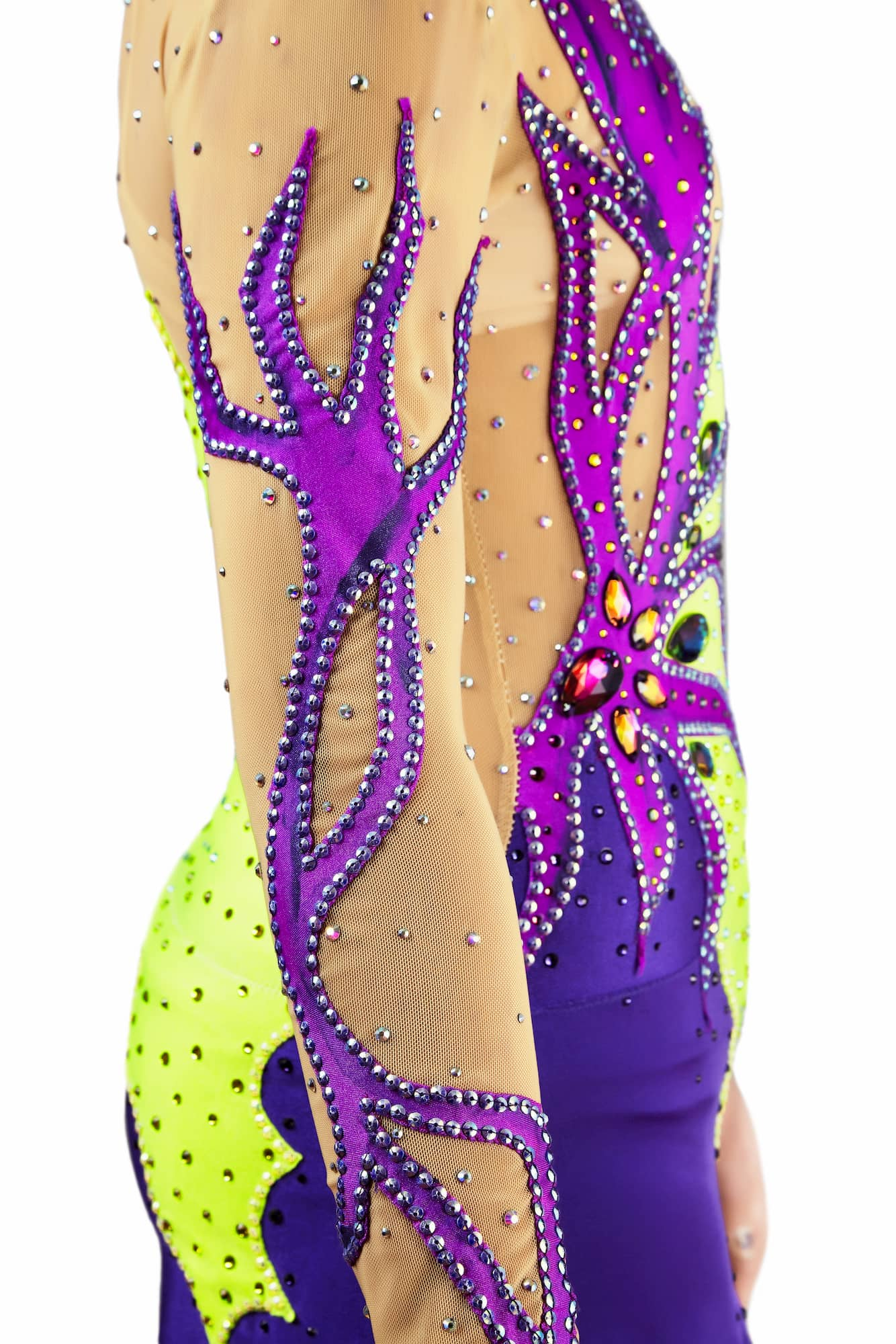 Abstract details on the right sleeve of lemon, purple, ink rhythmic gymnastics leotard № 119 for competitions