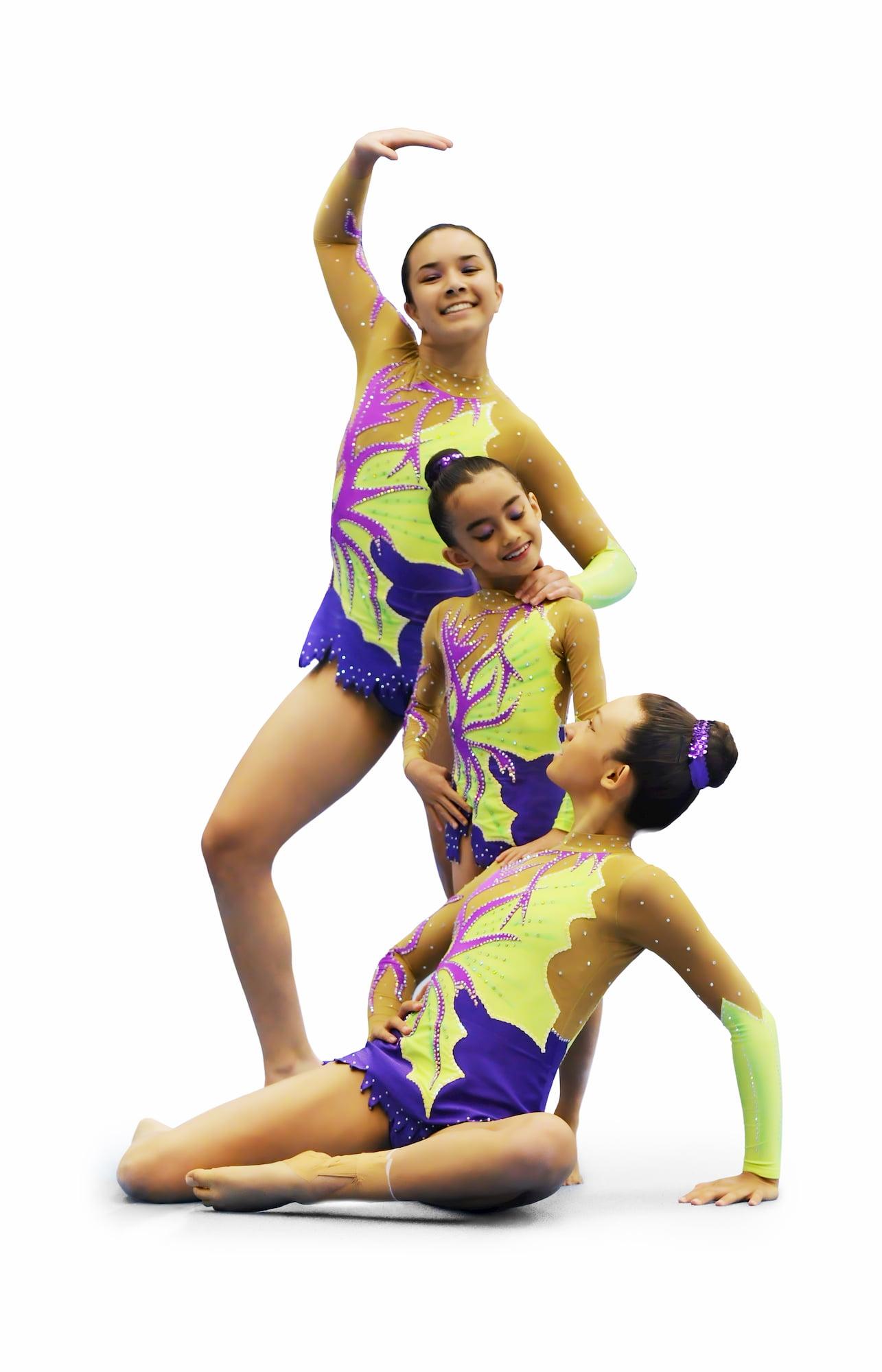 Trio at lemon, purple, ink rhythmic gymnastics leotard № 119 for competitions