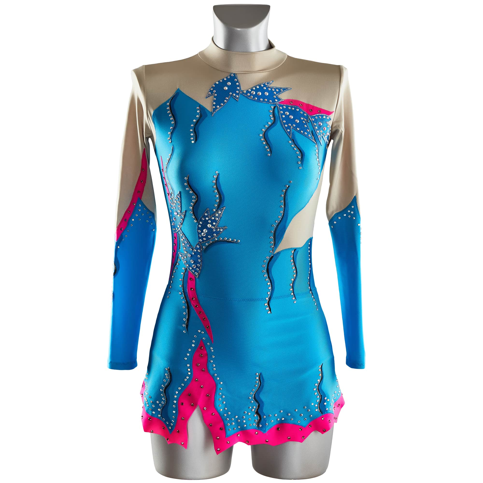 Rhythmic Gymnastics Leotard № 120 with two sleeves made in Blue, dark blue & hot pink colours