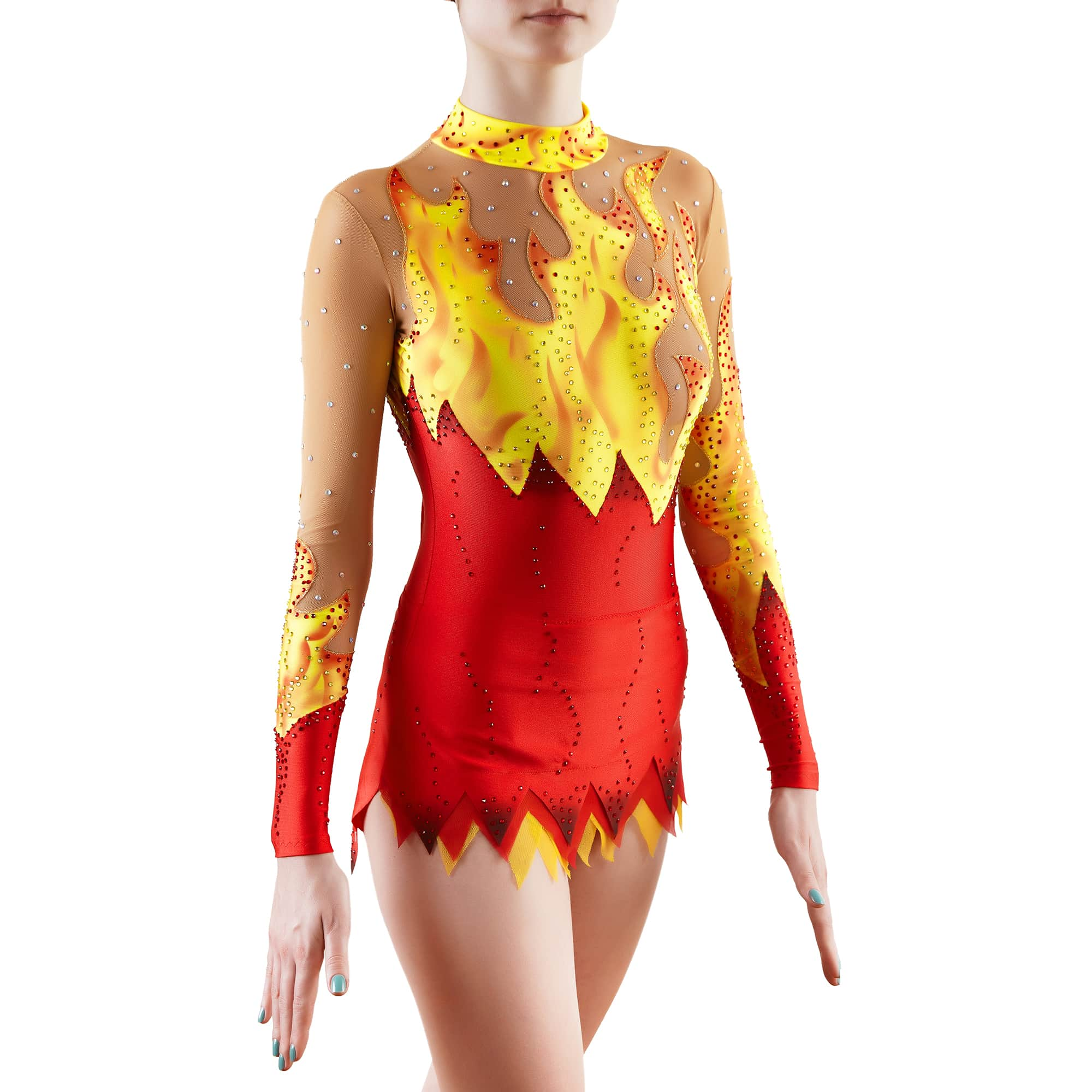 Side view of flame rhythmic gymnastics leotard with fire elements made in red and yellow colours with a lot of bright crystals