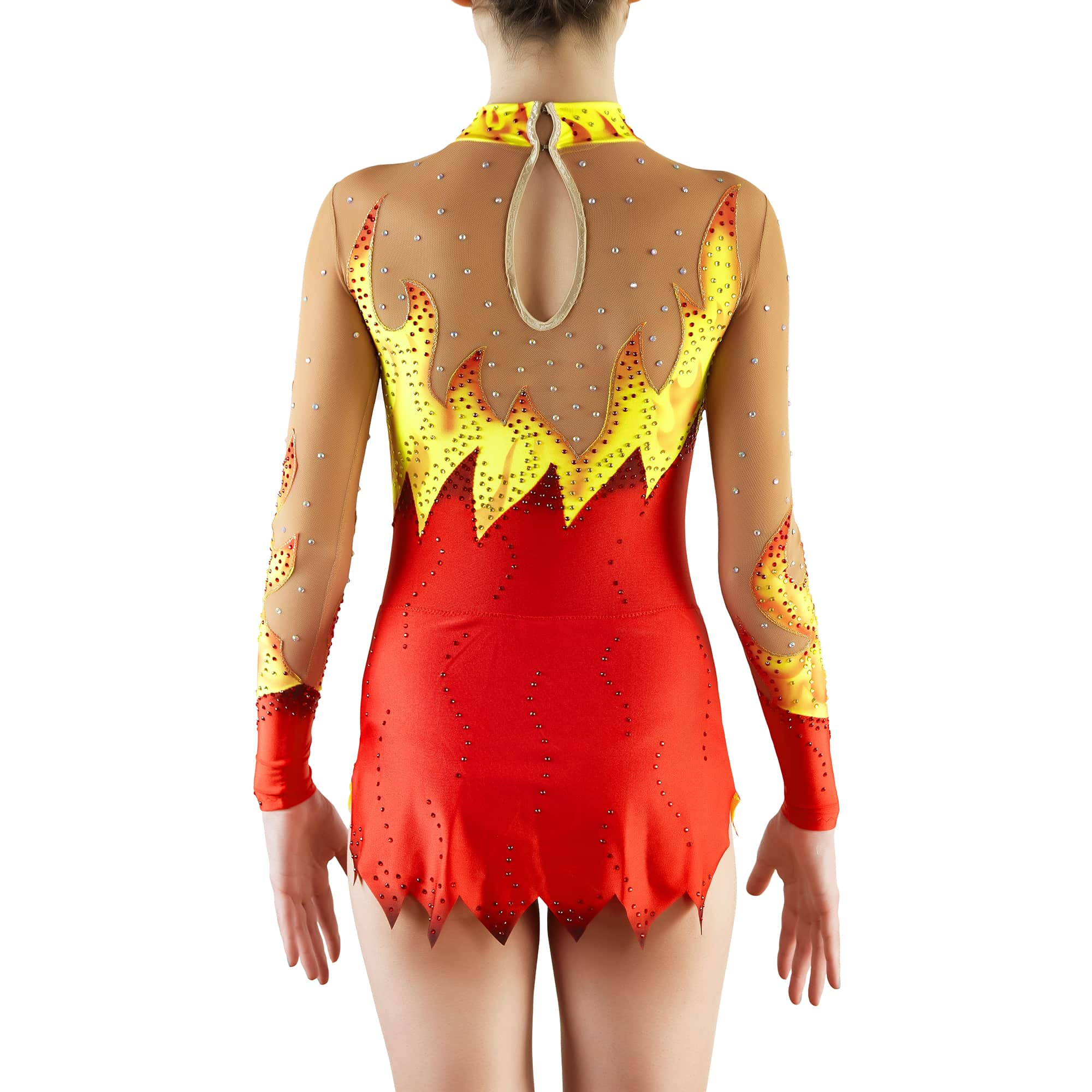 Back view of flame rhythmic gymnastics leotard with fire elements made in red and yellow colours