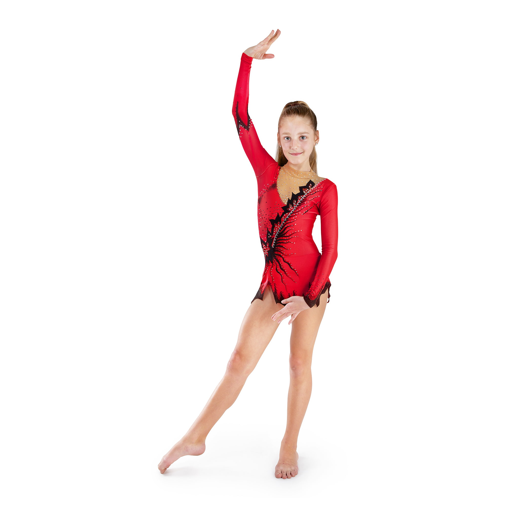 Red & black gymnastics leotard № 126 for competitions