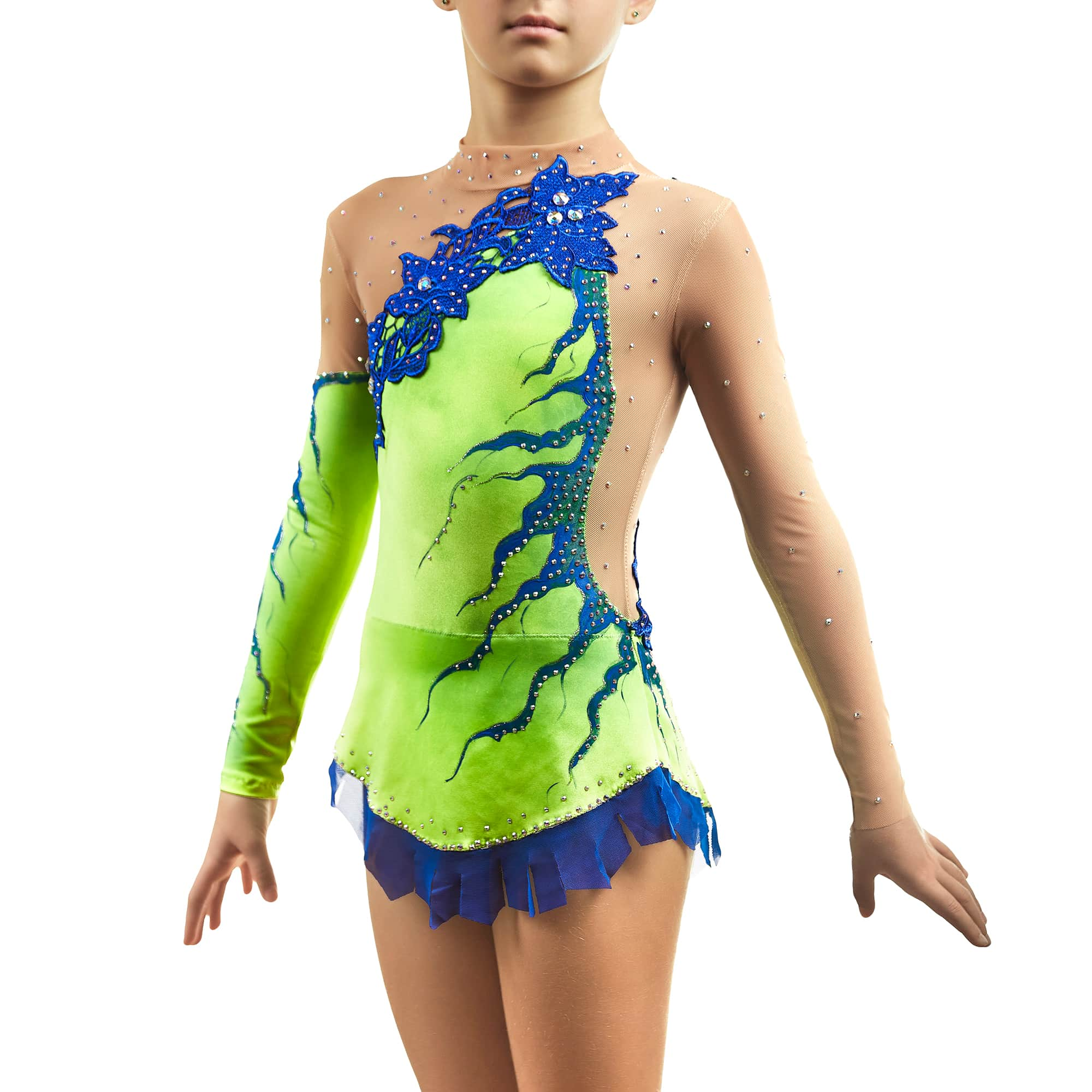 Lemon and blue circus costume № 130 with collar & sleeves