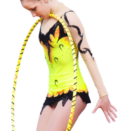 Rhythmic Gymnastics Leotard № 15 could be sewn as Dress Rhythmic Gymnastics, Ice Figure Skating Dress, Costume Acrobatic Gymnastics, Baton Twirling or Dance Leotard Suit. Bright colors, appliques and interesting design of the skirt