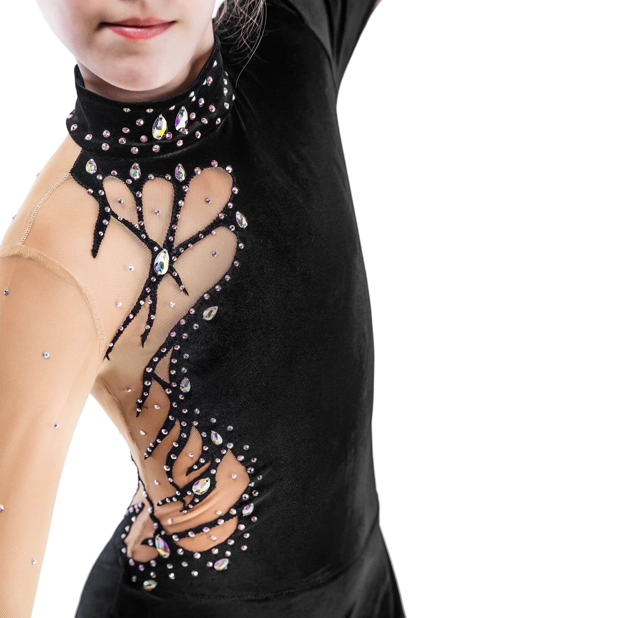 Black Rhythmic Gymnastics Leotard № 152 with two sleeves, skirt & collar with droplet