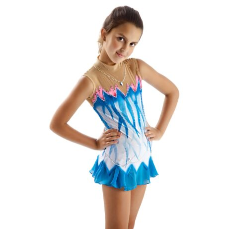 White, blue, pink Ice Figure Skating Dress 156 for competitions