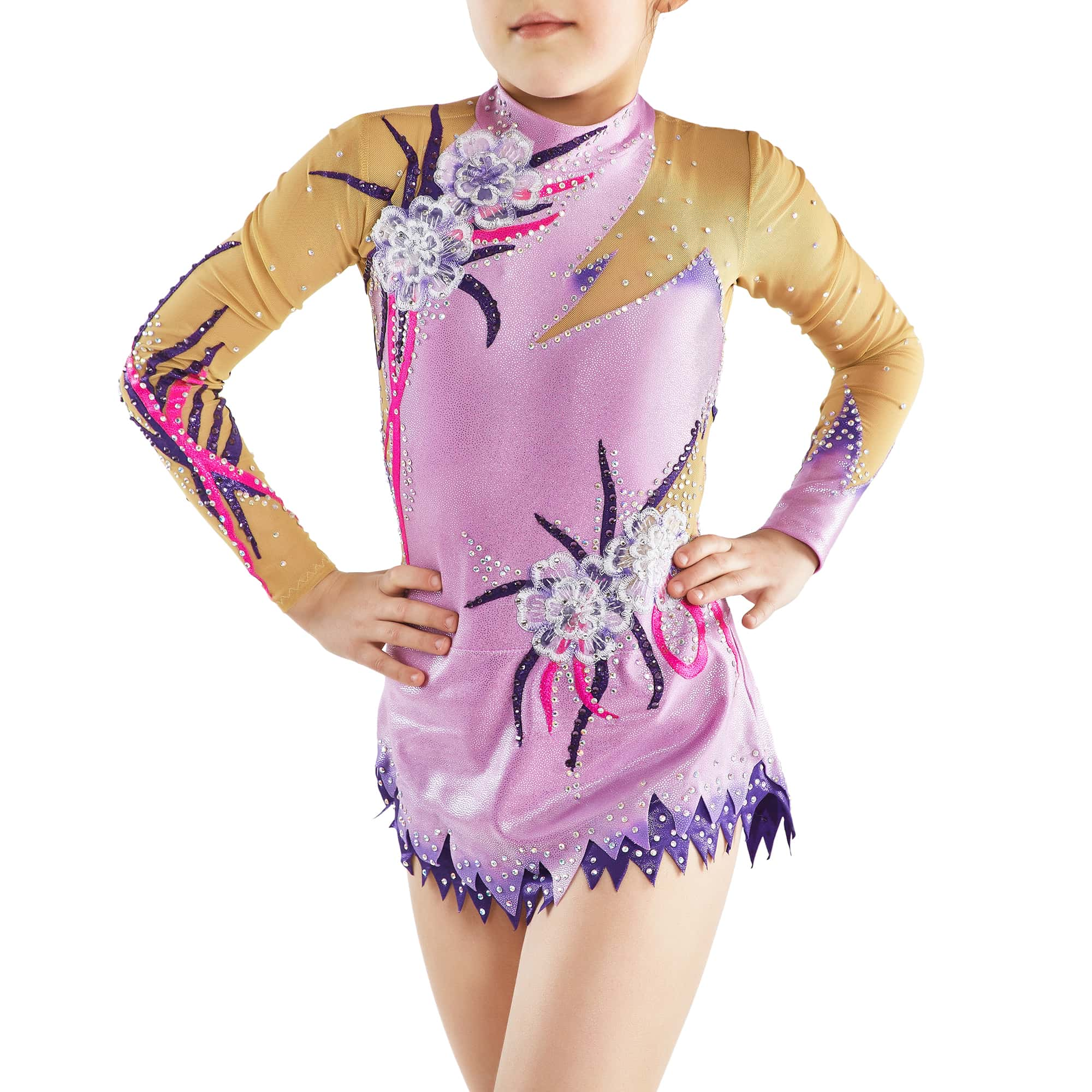 Front view of the lilac, dark purple, magento gymnastics leotard № 165 for competitions