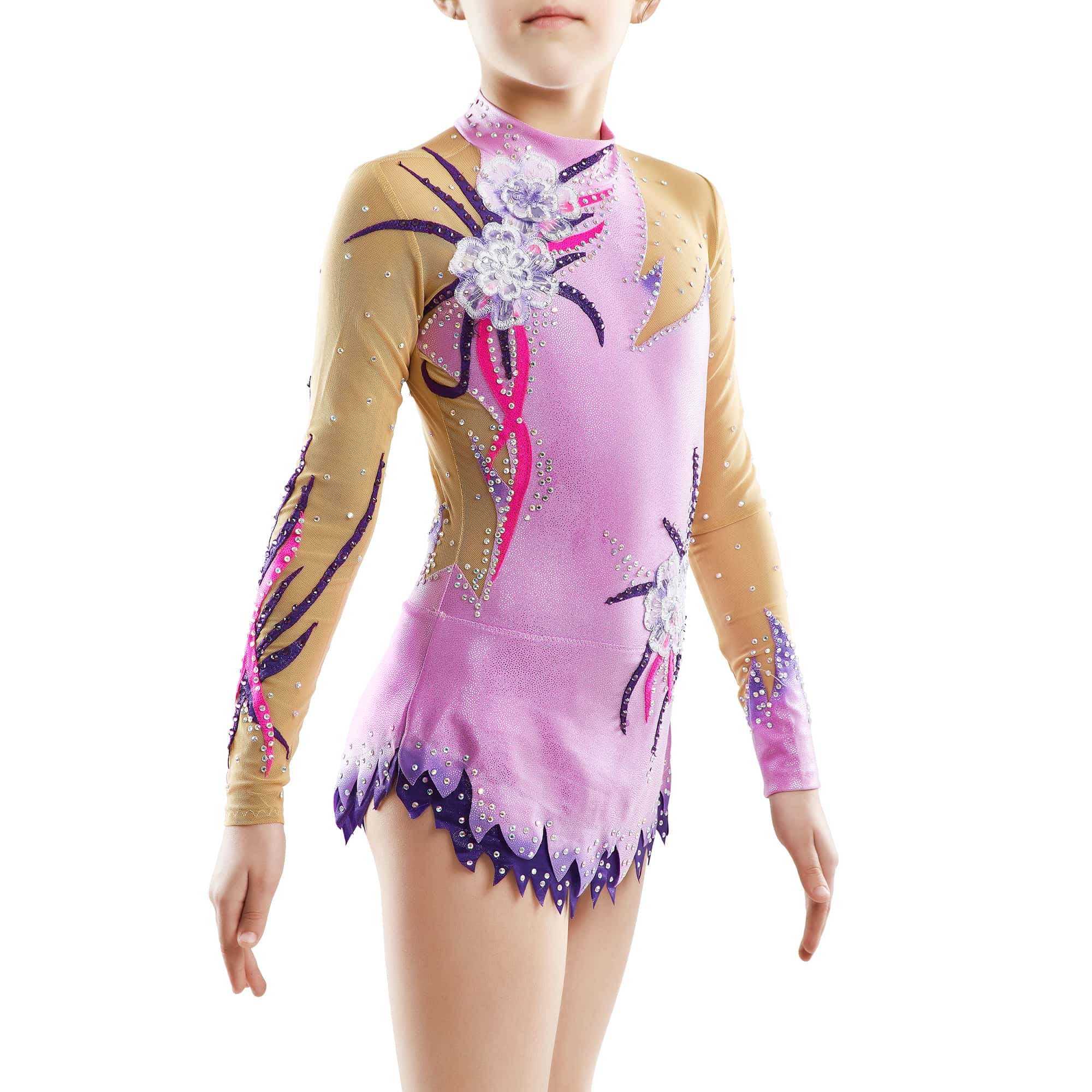 Side view of the lilac, dark purple, magento gymnastics leotard № 165 for competitions