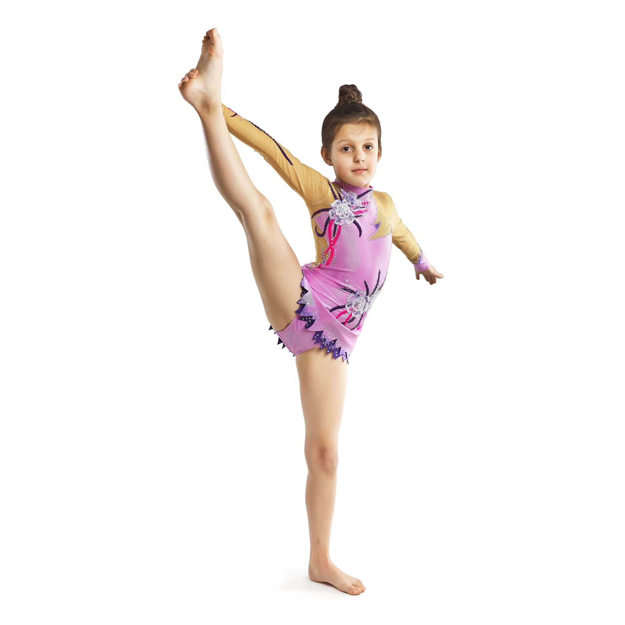 The gymnast with raised leg in lilac, dark purple, magento gymnastics leotard № 165 for competitions
