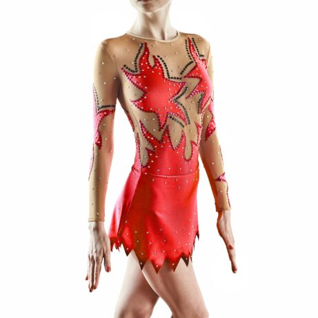 Red Rhythmic Gymnastics Leotard 168 for competitions