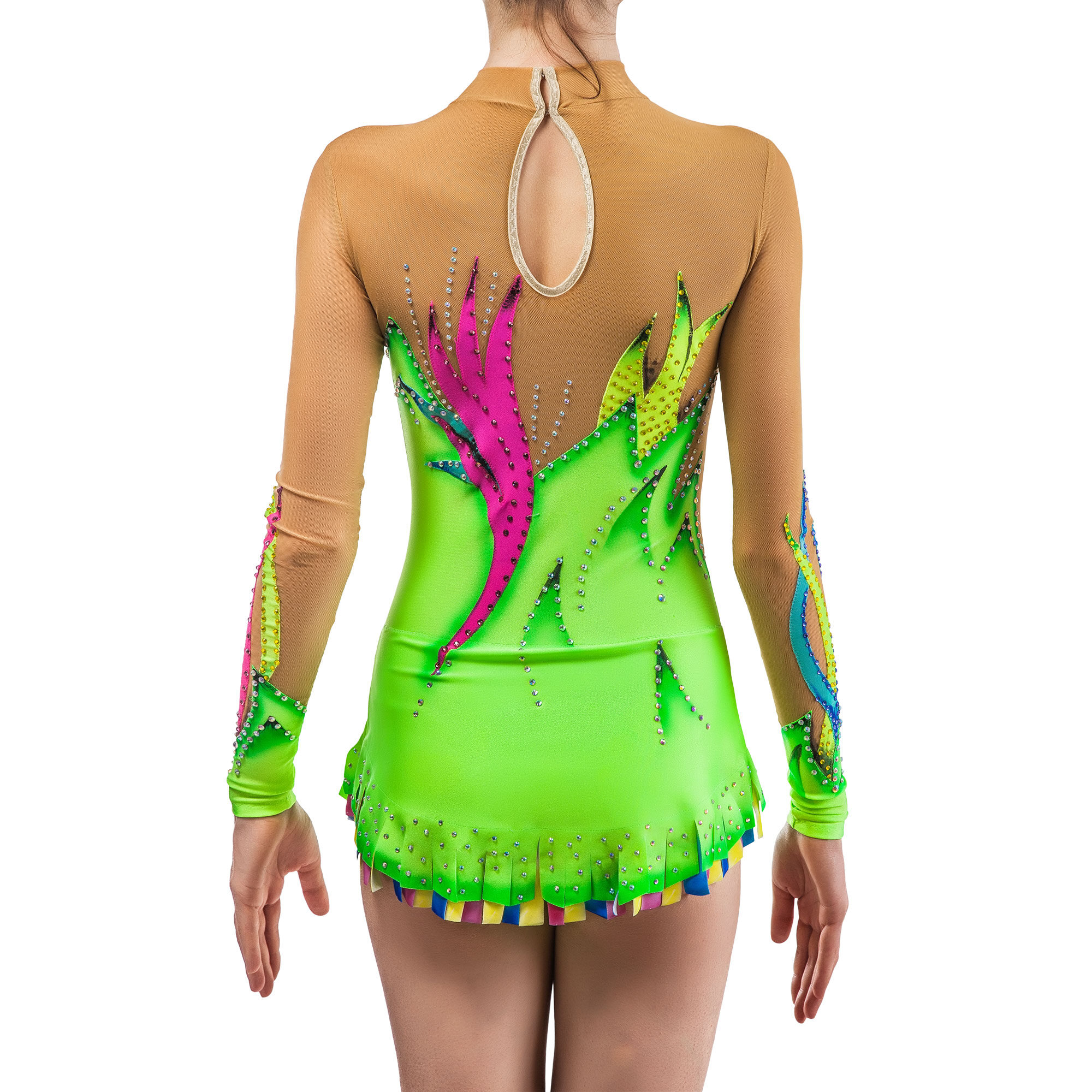 Rhythmic Gymnastics Leotard № 169 could be sewn as Rhythmic Gymnastics Dress, Ice Figure Skating Dress, Acrobatic Gymnastics Costume, Baton Twirling Suit or Dance Leotard. Colored magic lines convey a feeling of elegance