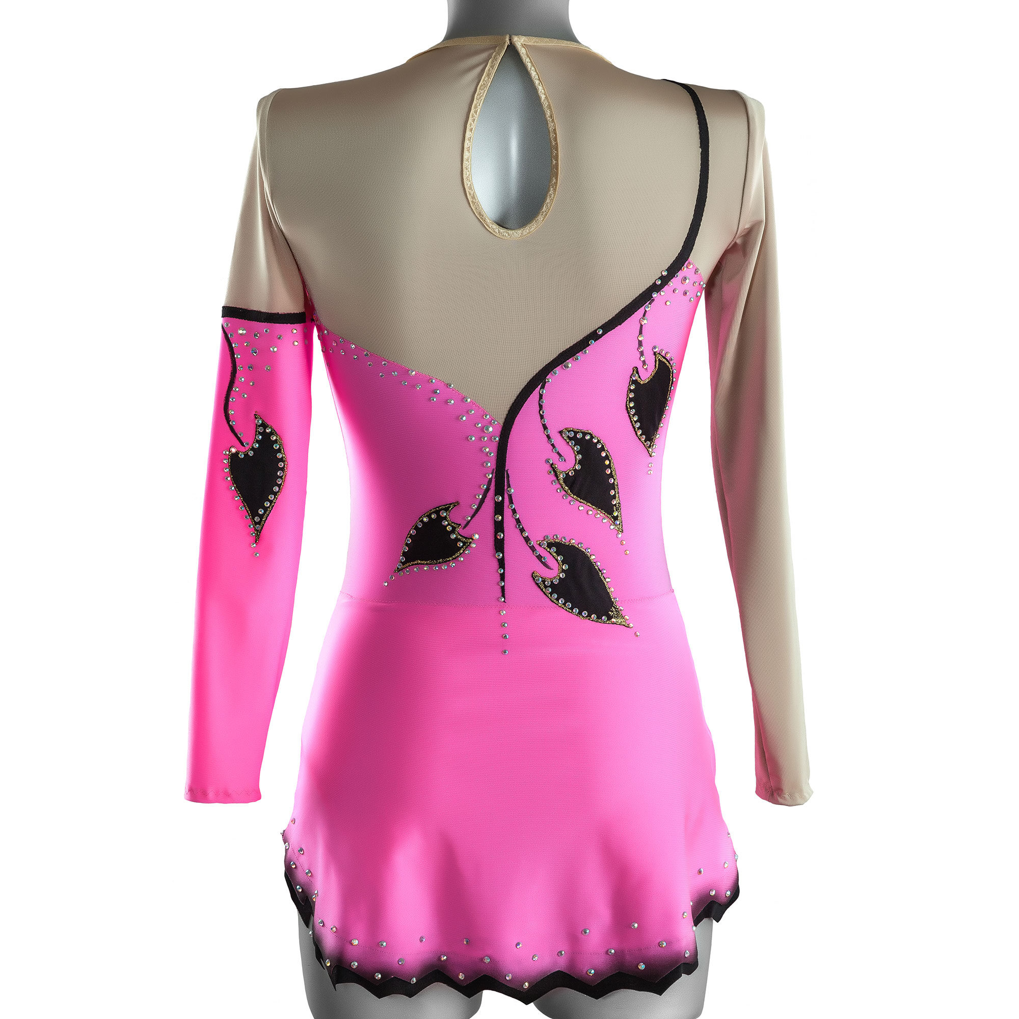 Pink Rhythmic Gymnastics Leotard № 170 could be sewn as Dress Rhythmic Gymnastics, Ice Figure Skating Dress, Costume Acrobatic Gymnastics, Baton Twirling or Dance Leotard Suit. Decorated with large leaves inserts