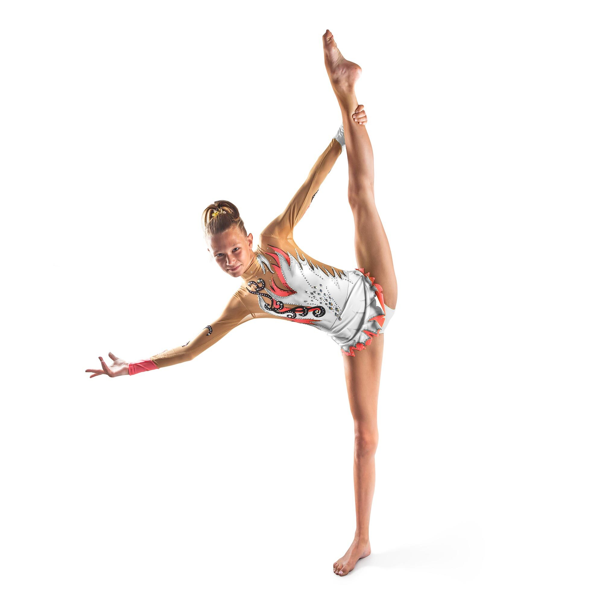 White, coral, black Rhythmic Gymnastics Leotard 171 made by gymnast's measurements for trainings and competitions