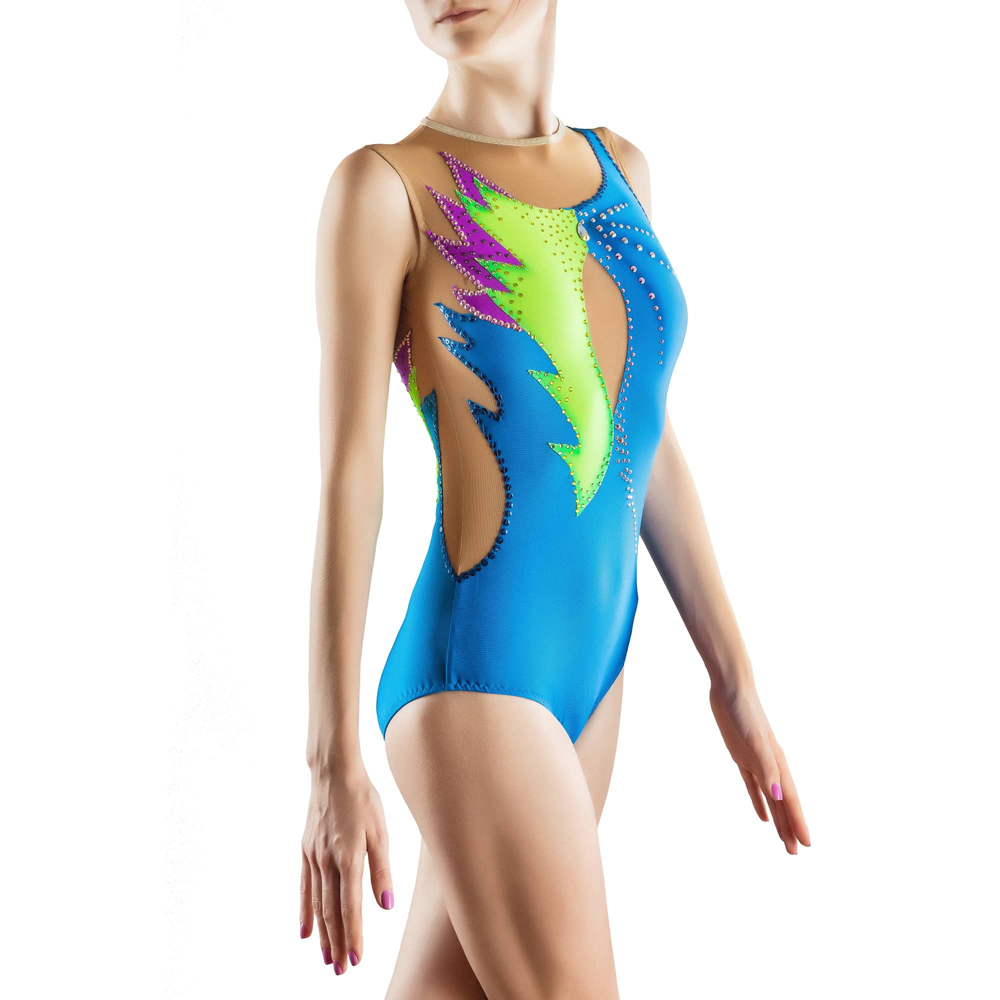 Three quarters view of skirtless, sleeveless & collarless acrobatic gymnastics costumee № 173 made in blue, lemon, violet colours