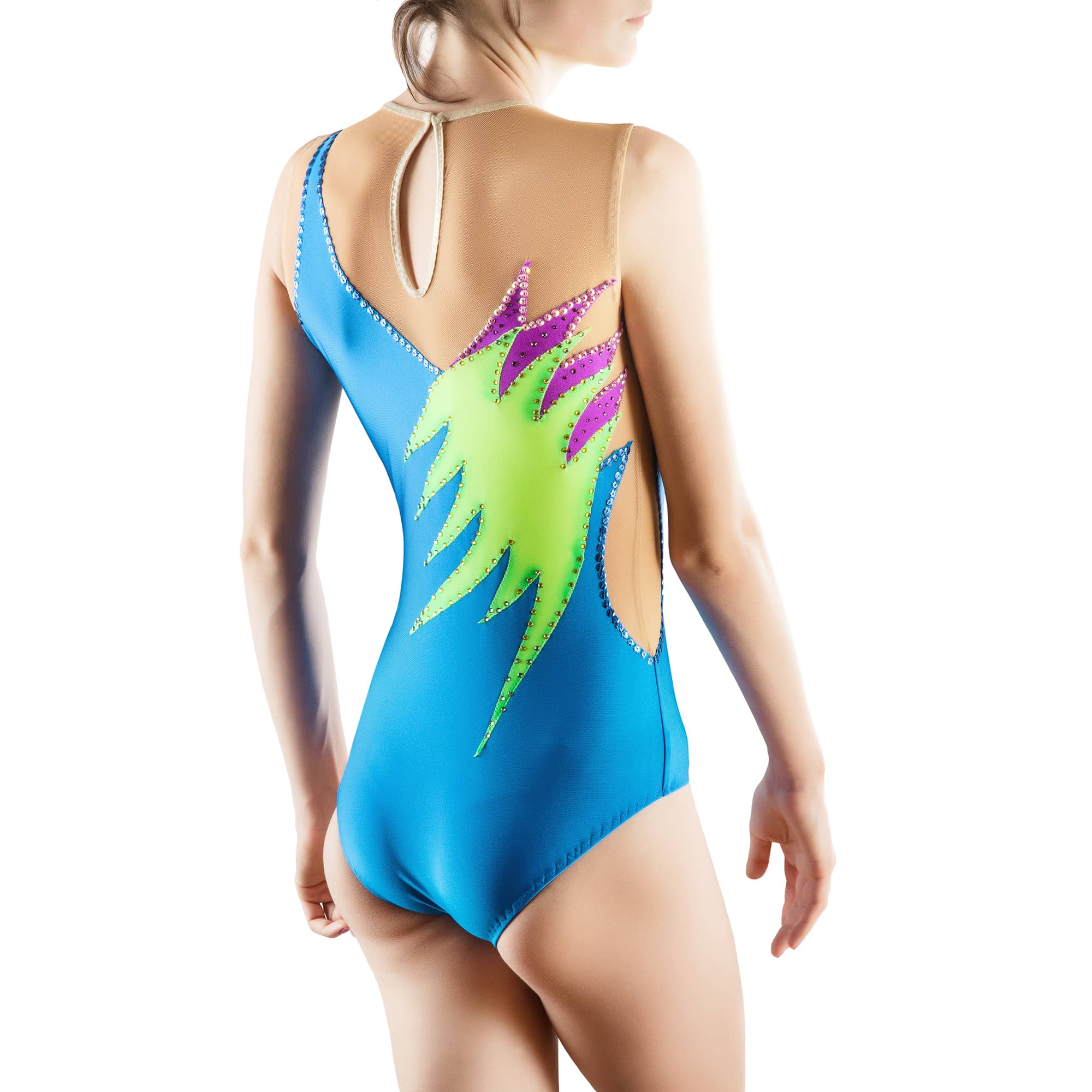 Back side of skirtless, sleeveless & collarless acrobatic gymnastics costume № 173 made in blue, lemon, violet colours