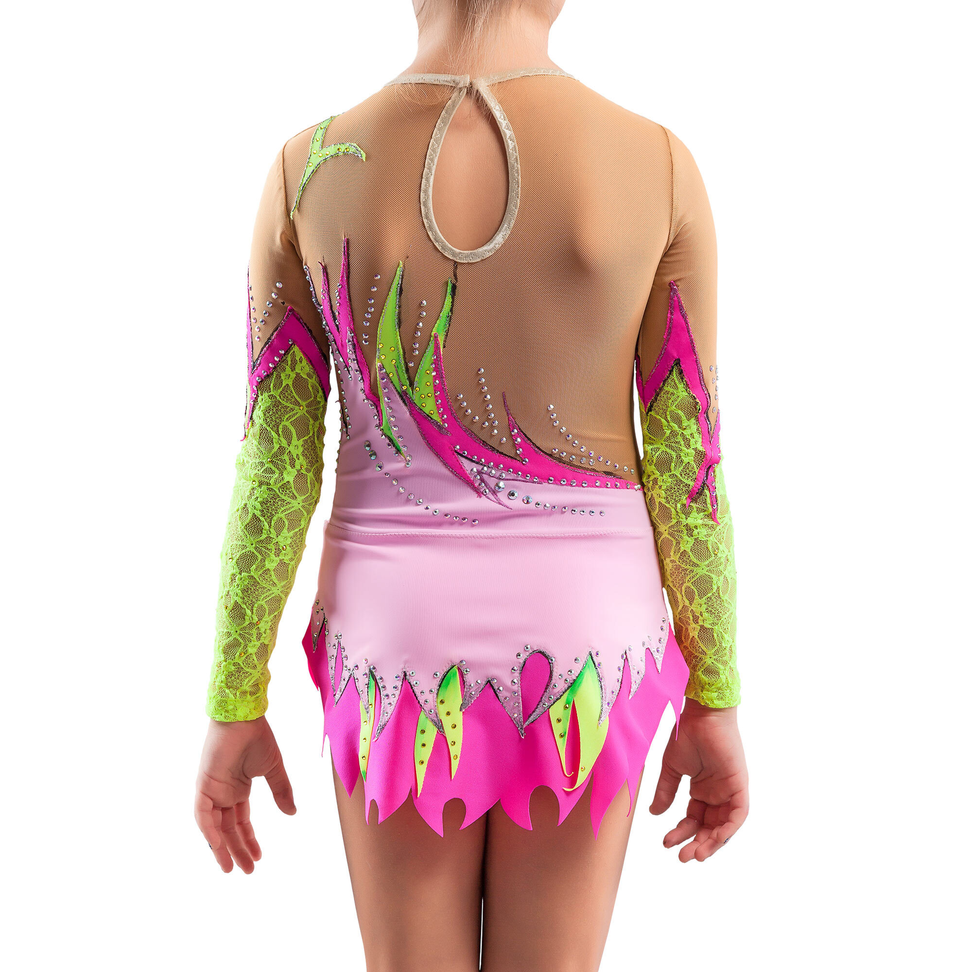 Rhythmic Gymnastics Leotard № 175 could be sewn as Dress Rhythmic Gymnastics, Ice Figure Skating Dress, Costume Acrobatic Gymnastics, Baton Twirling or Dance Leotard Suit. Colorful suit with lace