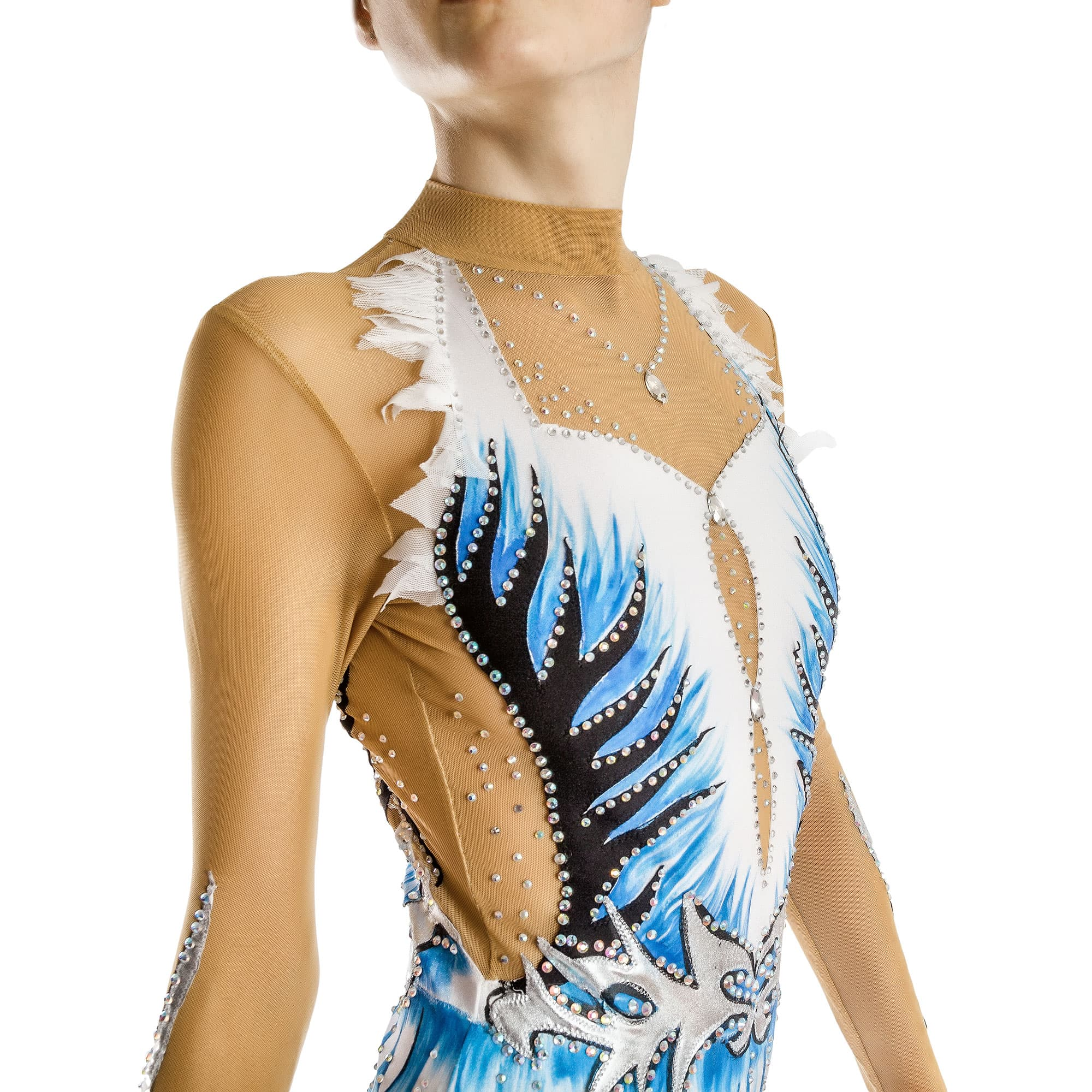 Rhythmic Gymnastics Leotard № 176 could be sewn as Rhythmic Gymnastics Dress, Ice Figure Skating Dress, Acrobatic Gymnastics Costume, Baton Twirling Suit or Dance Leotard. An Hanger and trim neckline, decorated with a necklace of crystals. Waist and sleeves are decorated with complex artistic appliques