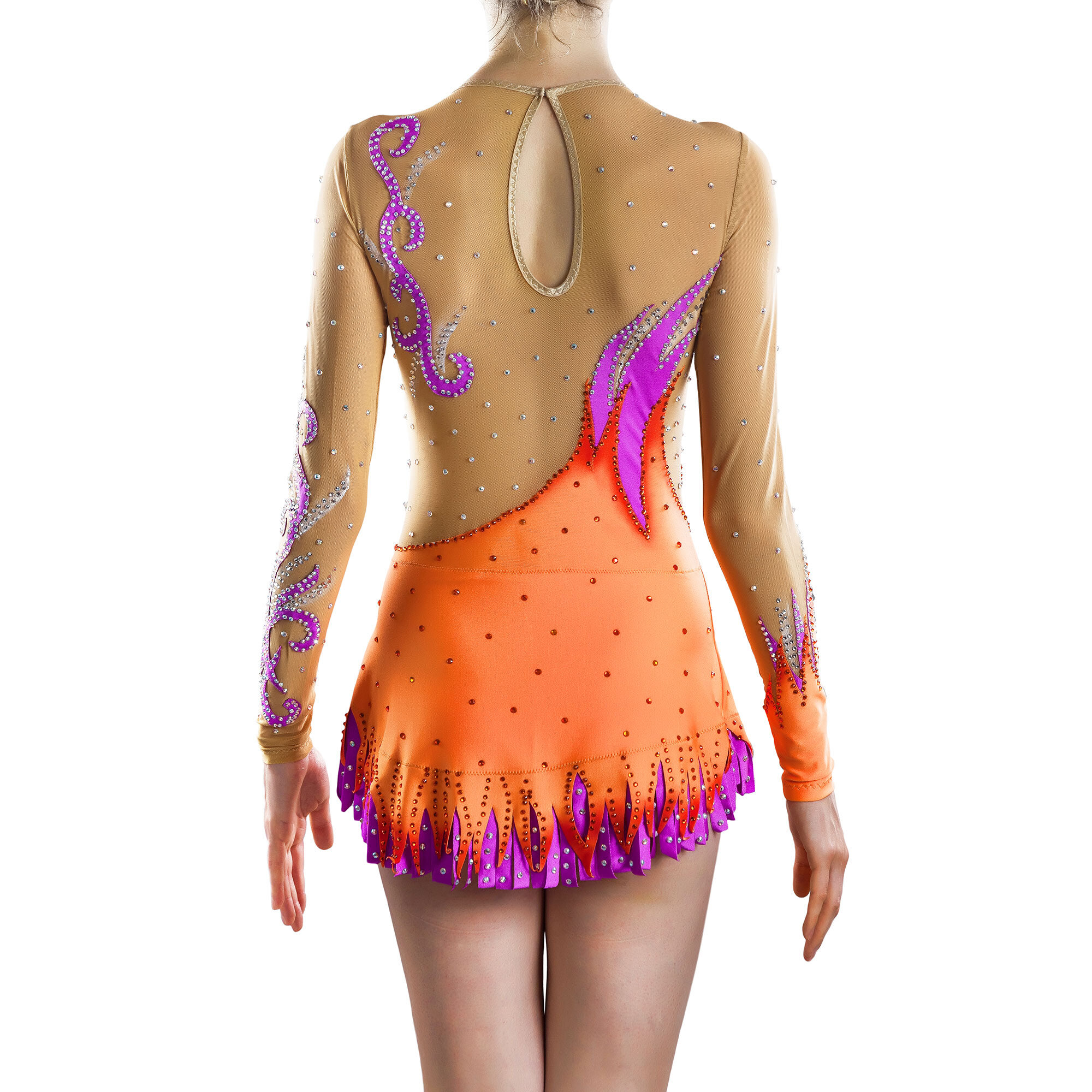Backside of Orange, purple, mesh Rhythmic Gymnastics Competition Leotard № 184 for Competitions with double skirt & applications