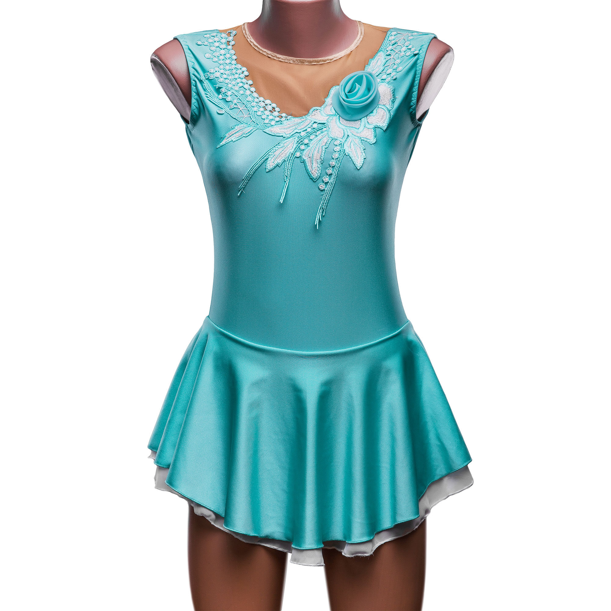 A gentle Ice Figure Skating Leotard № 185 could be sewn as Rhythmic Gymnastics Dress, Ice Figure Skating Dress, Acrobatic Gymnastics Costume, Baton Twirling Suit or Dance Leotard. Blue leotard is decorated with lace and a charming rosebud