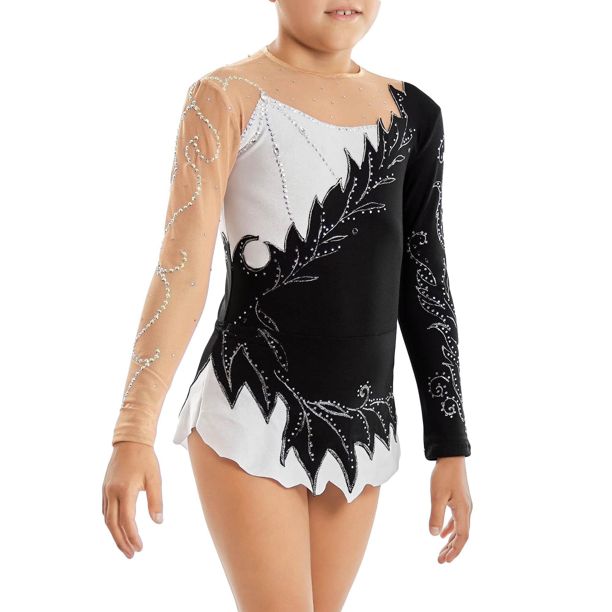 Black & White Ice Figure Skating Dress № 19