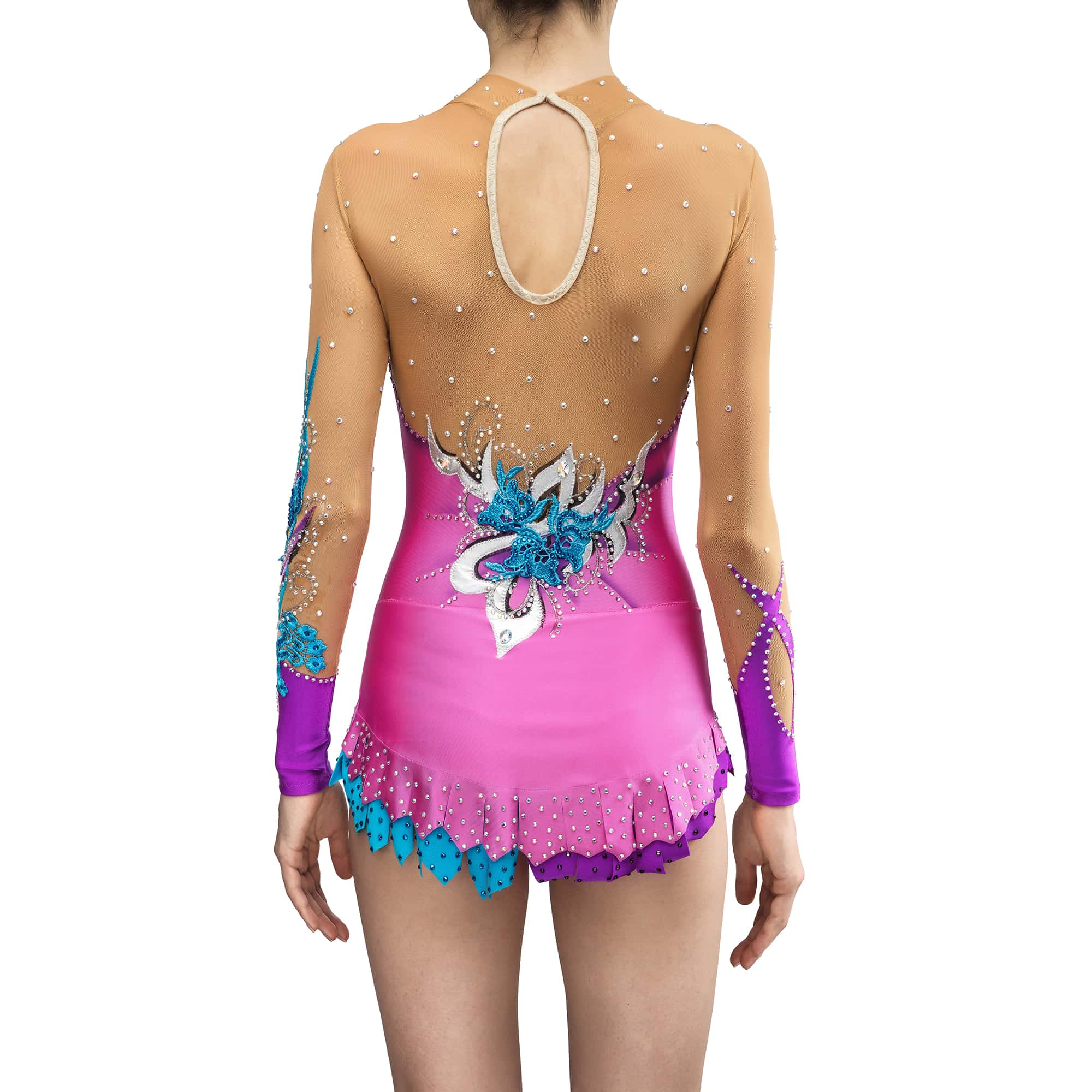 Back side view of the lilac, purple & blue gymnastics leotard № 192 for competitions with collar, two sleeves & 2 layered skirt