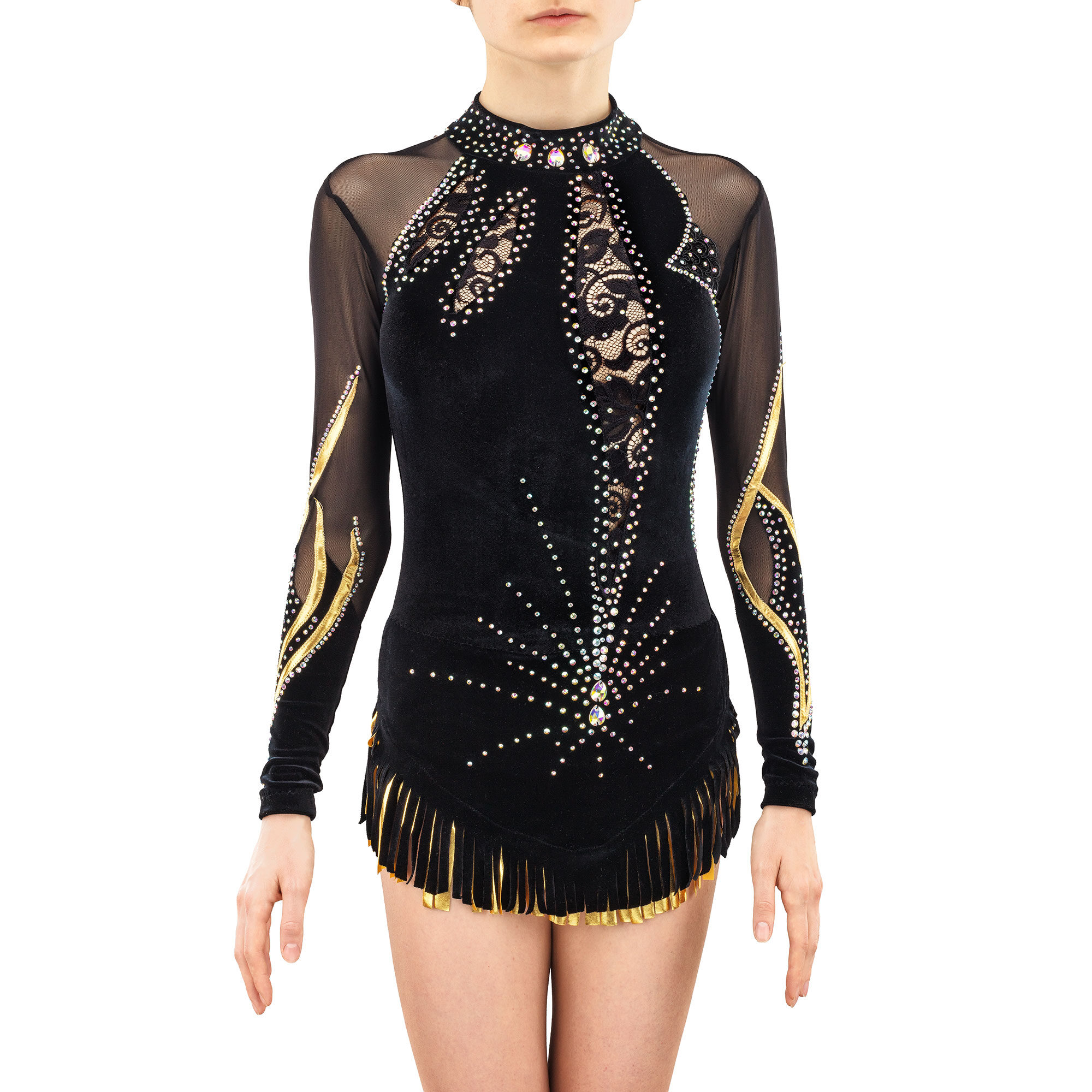 Velvet Rhythmic Gymnastics Leotard № 195 could be sewn as Rhythmic Gymnastics Dress, Ice Figure Skating Dress, Acrobatic Gymnastics Costume, Baton Twirling Suit or Dance Leotard. The costume consists of gold inserts and a ponytail fringe, made of lace inserts and a stand-up collar