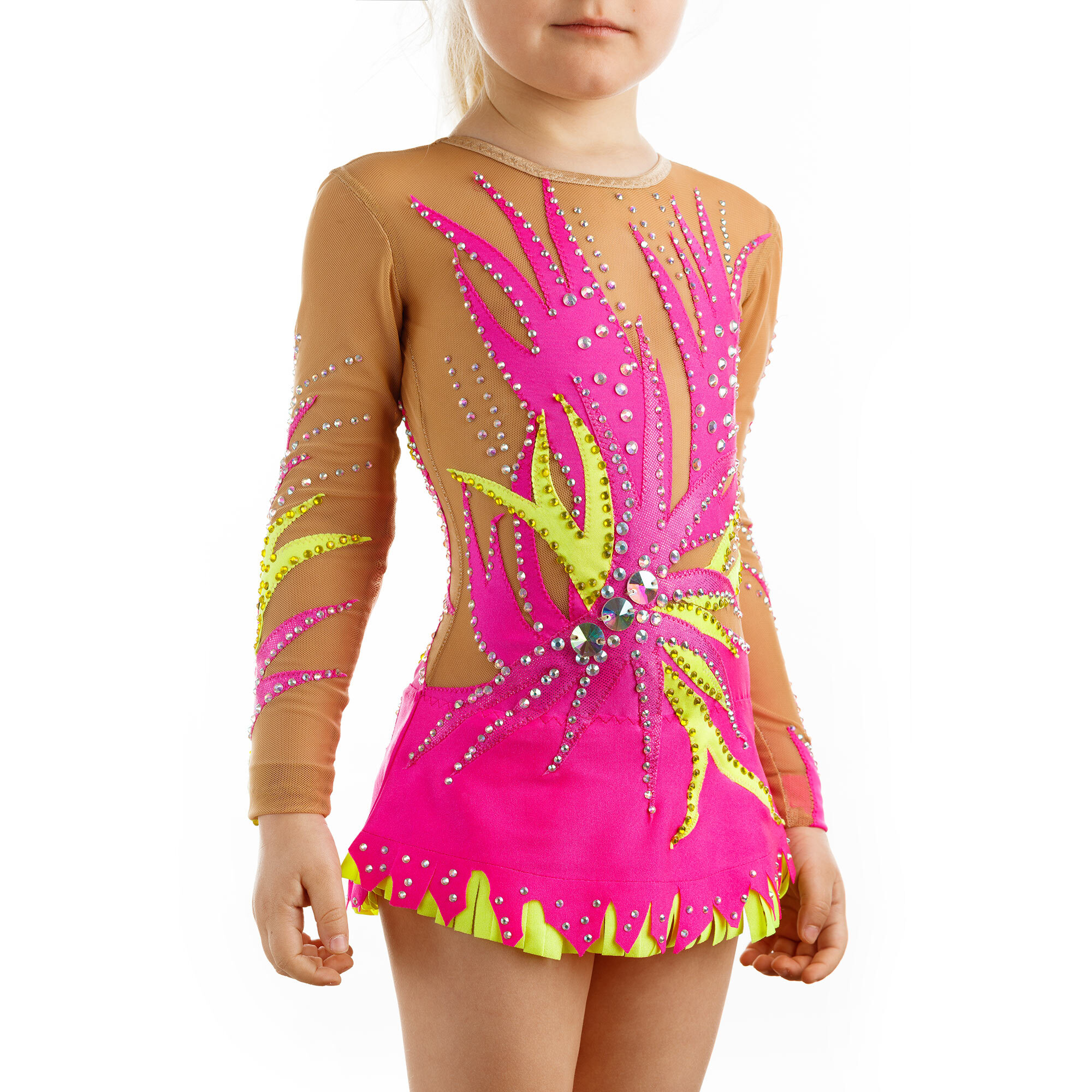 Rhythmic Gymnastics Leotard 197 made in Magenta, lemon & mesh colors with basic or Swarovski crystals