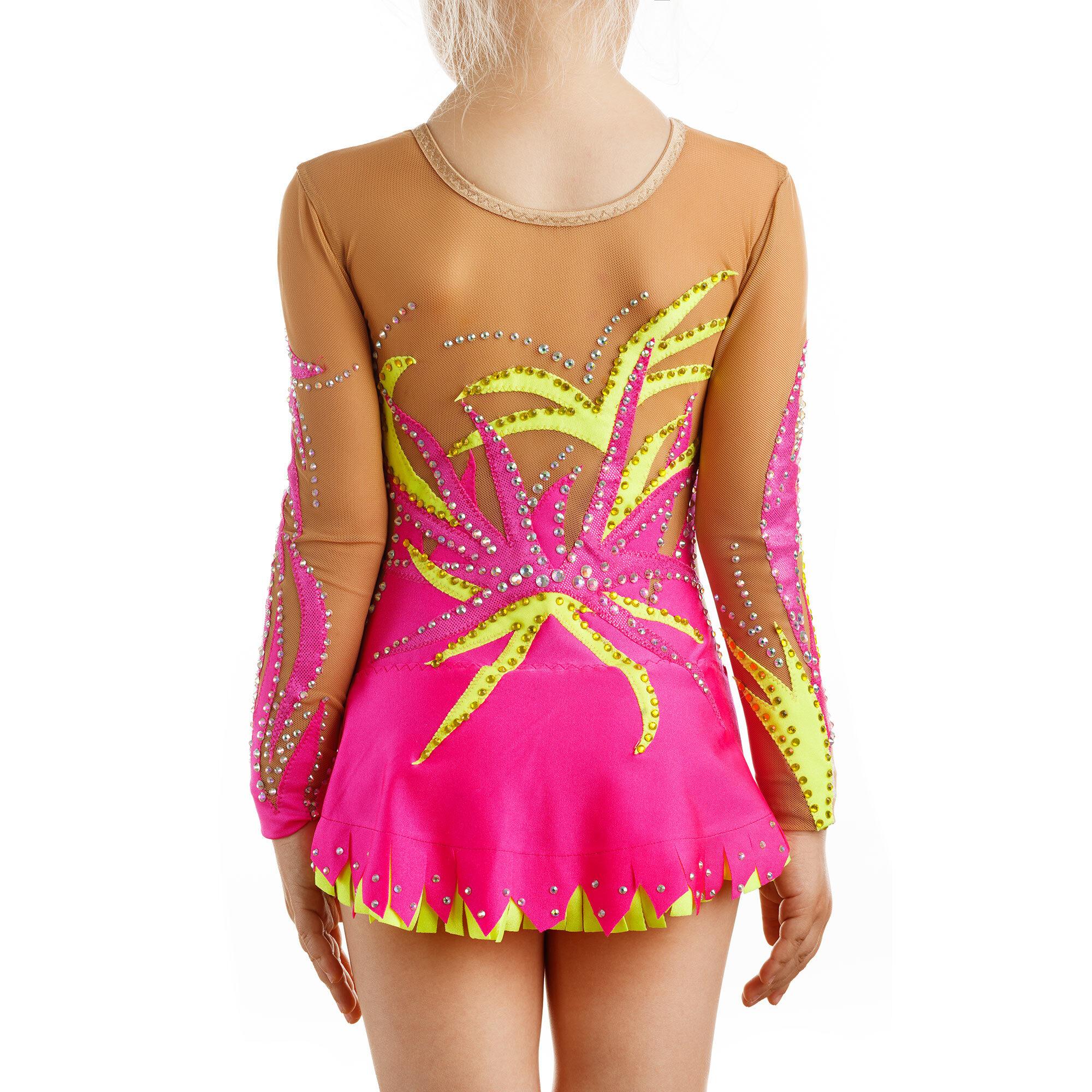 Rhythmic Gymnastics Leotard 197 made in Magenta, lemon & mesh colors