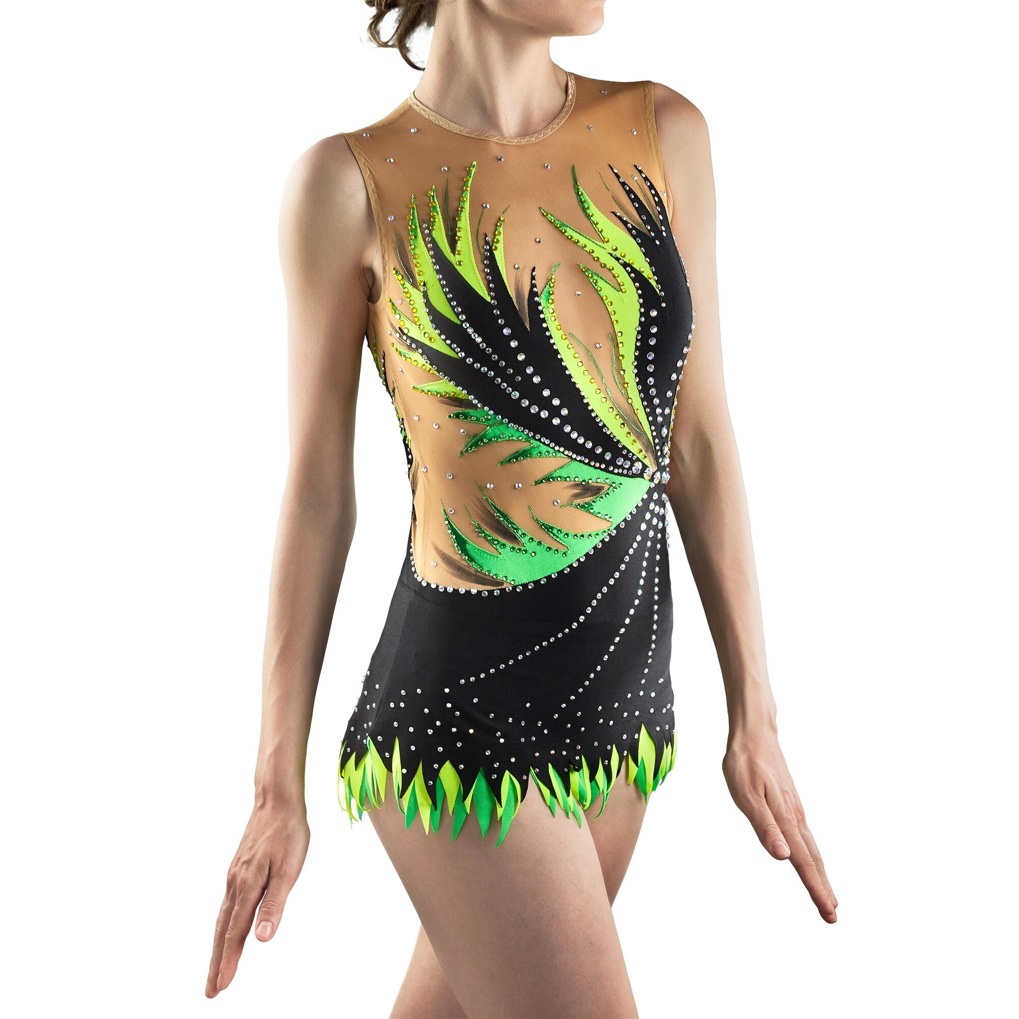 Black, lemon, green Rhythmic Gymnastics Leotard 198 made by gymnast's measurements for trainings and competitions