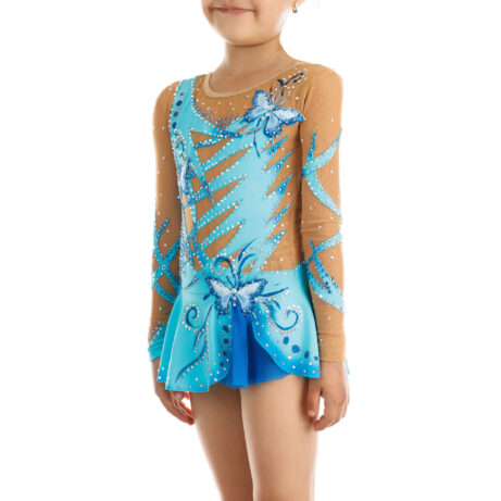 Rhythmic Gymnastics Leotard 201 in light blue, blue & mesh colors