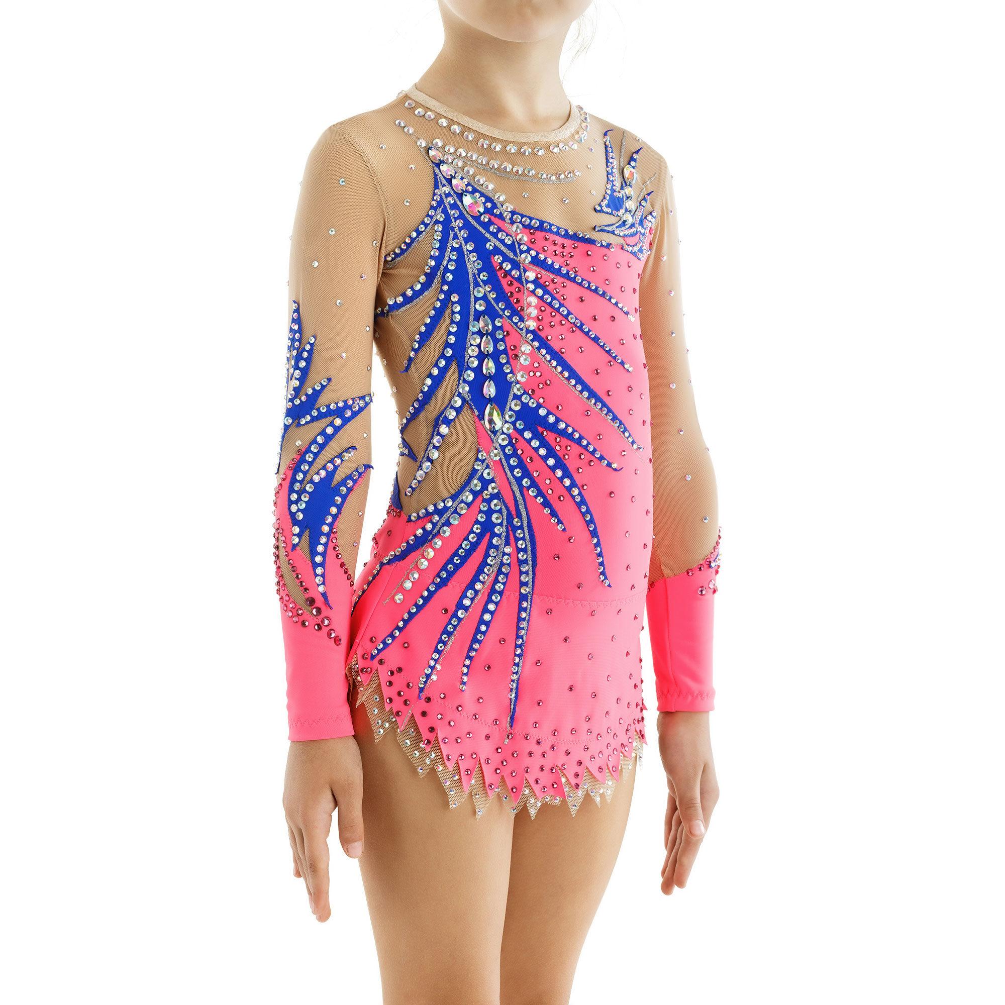Rhythmic Gymnastics Leotard 202 in coral, blue & mesh colors