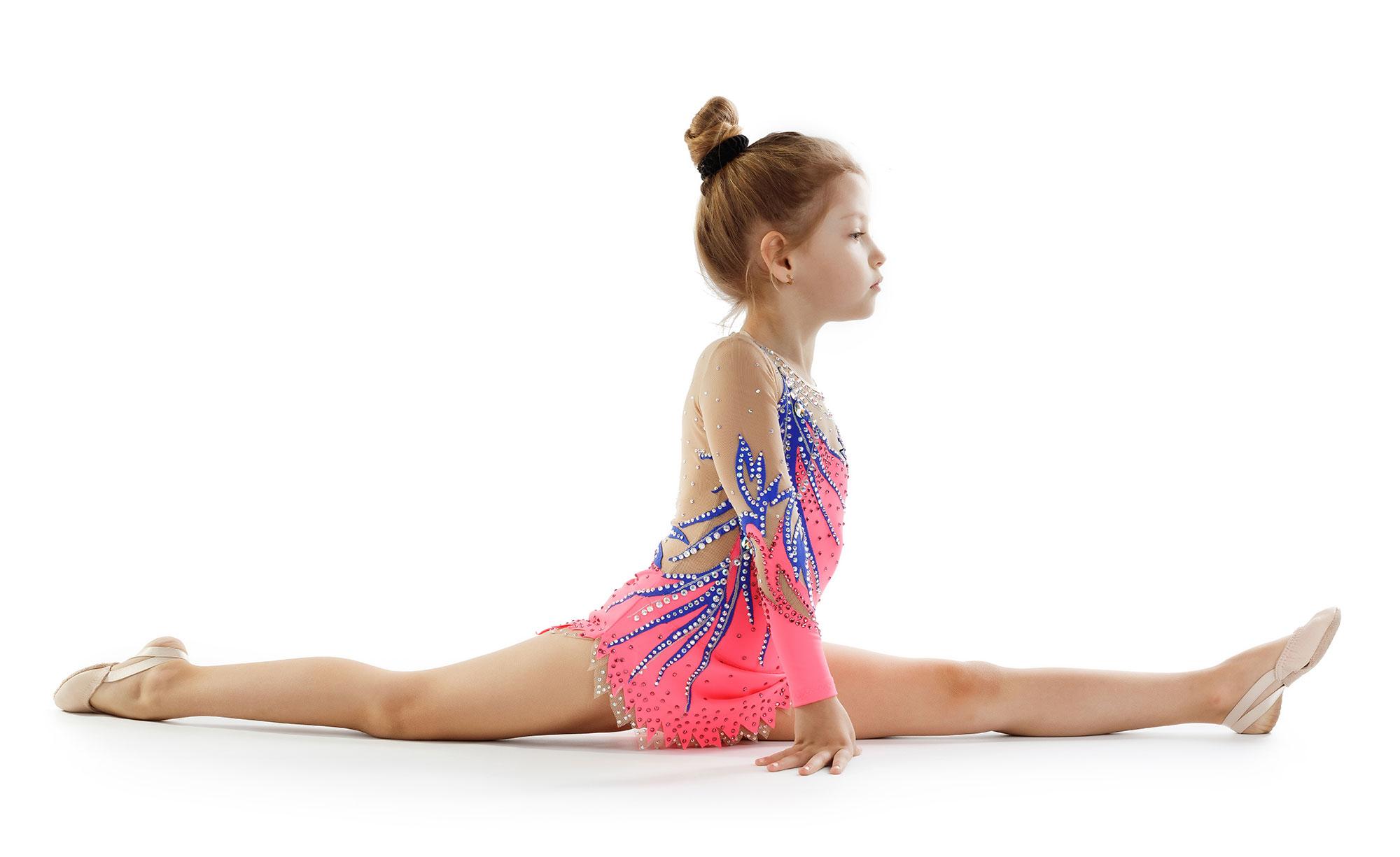 Rhythmic Gymnastics Leotard202 incoral, blue & mesh colors