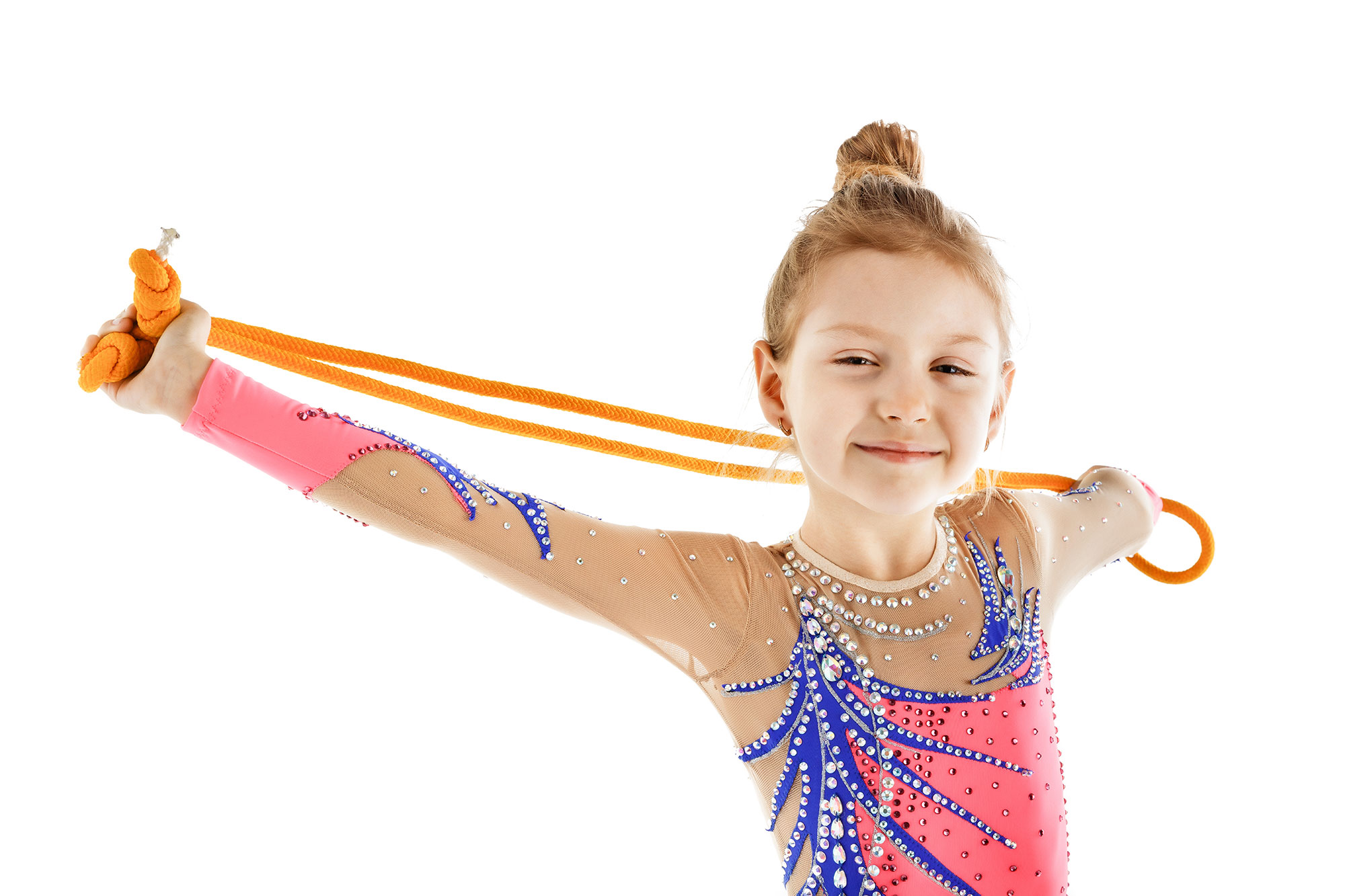 Rhythmic Gymnastics Leotard 202 in coral, blue & mesh colors