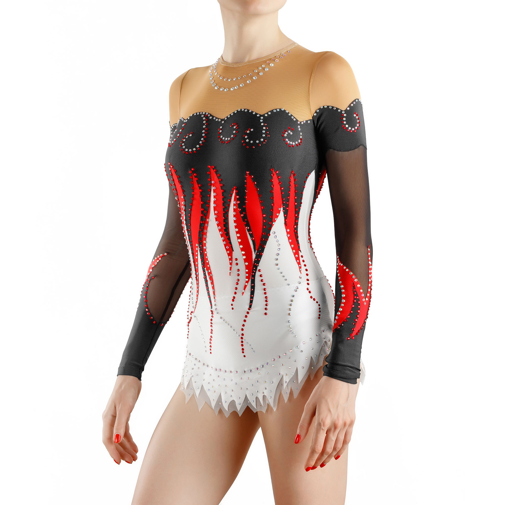 Rhythmic Gymnastics Leotard 204 with tangues of flames
