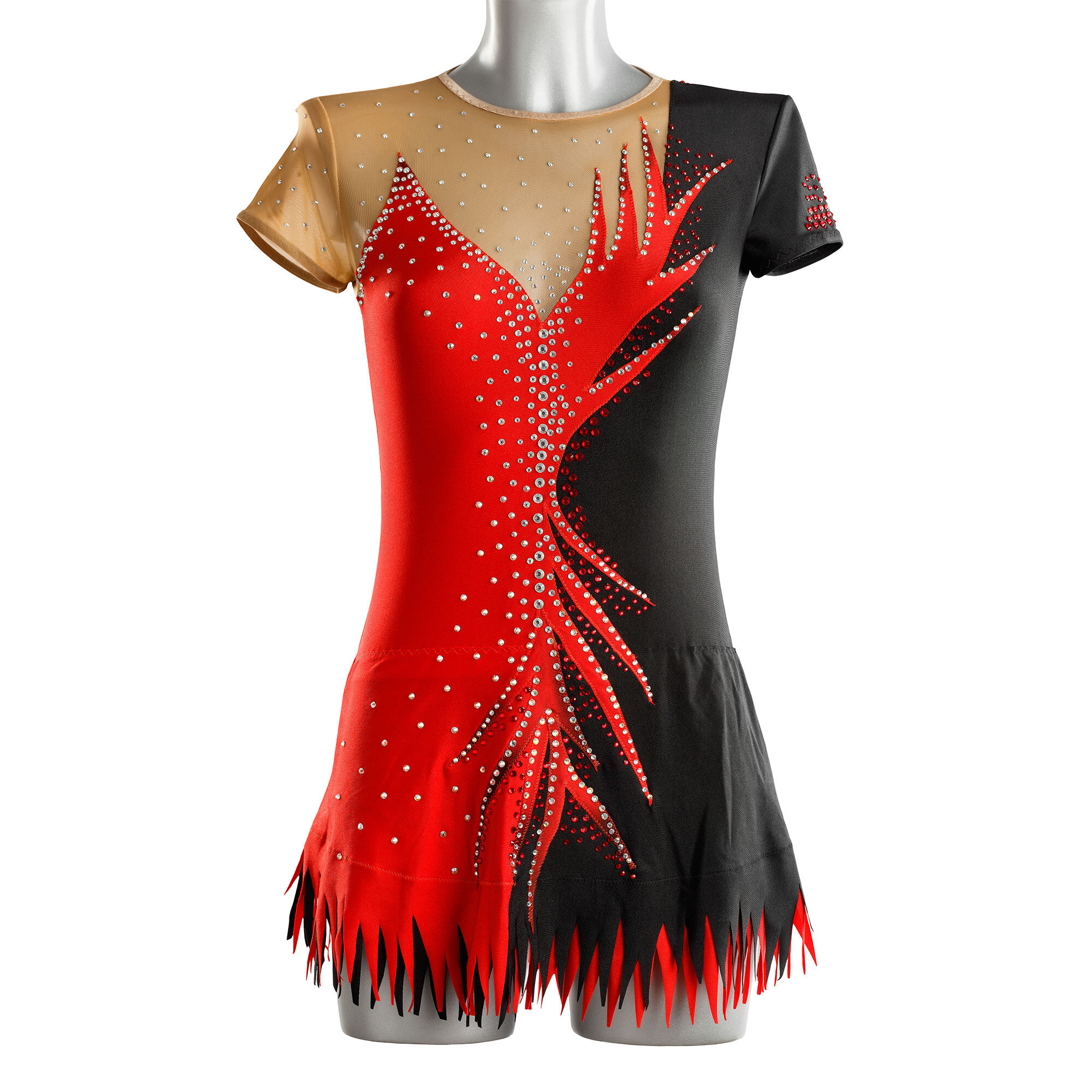 Red & Black Rhythmic Gymnastics Leotard 211 made by gymnast's measurements for trainings and competitions