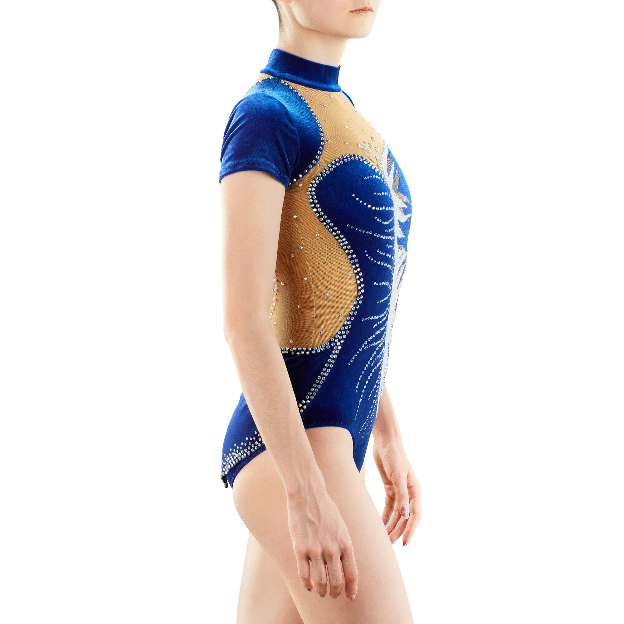 Navy blue Rhythmic Gymnastics Leotard № 217 without sleeves, skirt & with collar