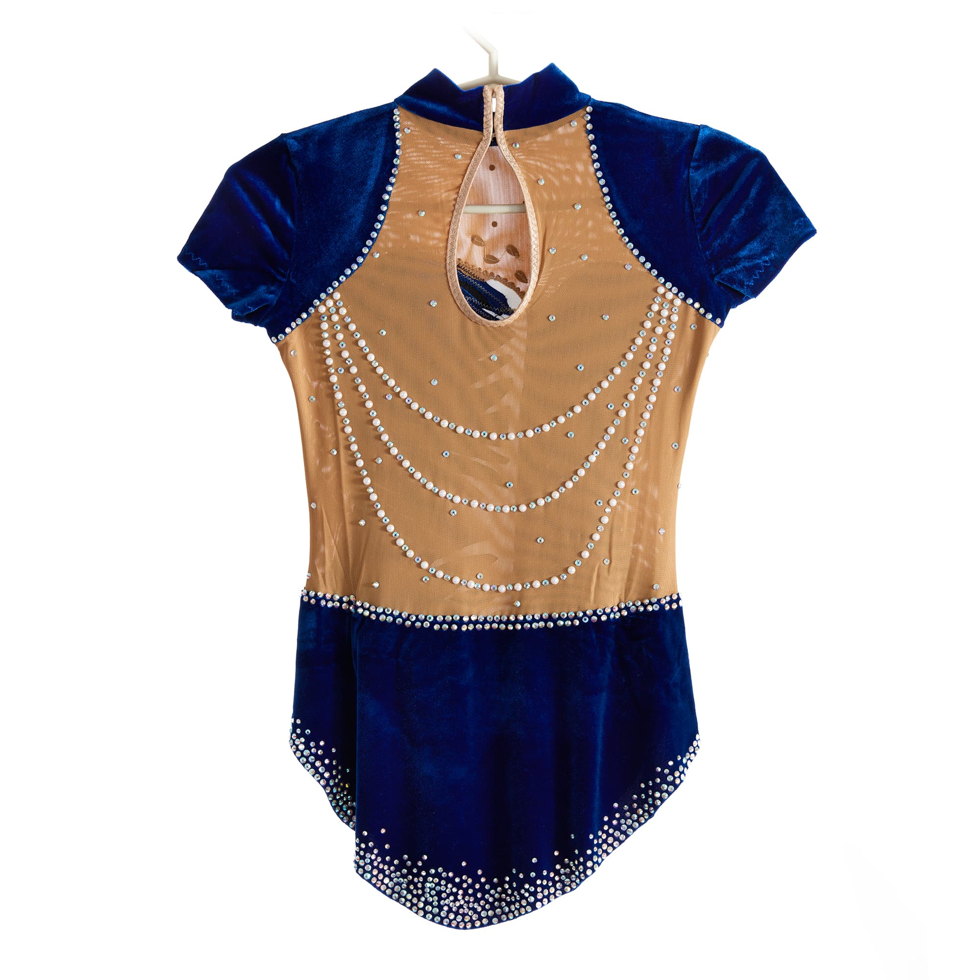 Back of Stock Velvet Blue & Silver Competition Leotard № 217 with short cap sleeves & collar