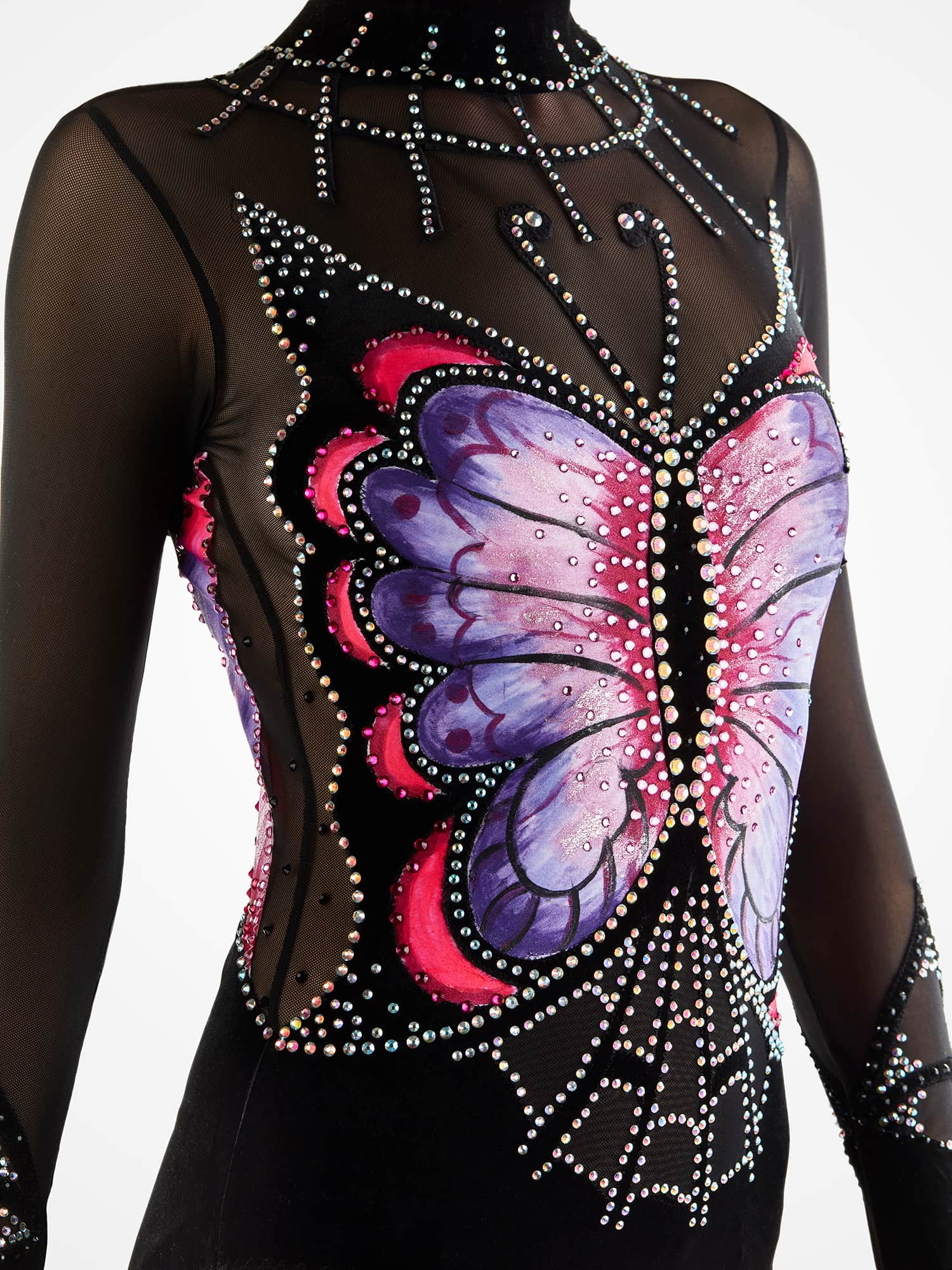 Acrobatic Gymnastics Leotard 219 with painted Butterfly made in Black, purple, hot mesh, black mesh with two sleeves, collar & skirtless