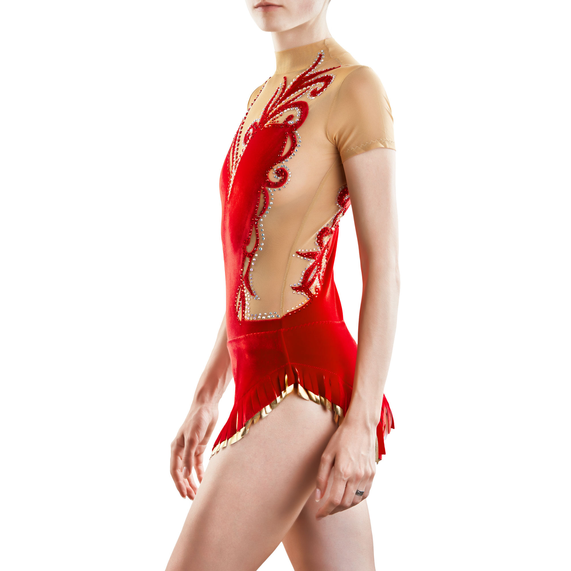 Red, gold, mesh Rhythmic Gymnastics Leotard 220 for competitions