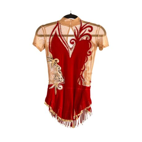 Front of Stock Red & Gold Competition Leotard № 220 with short cap sleeves & collar