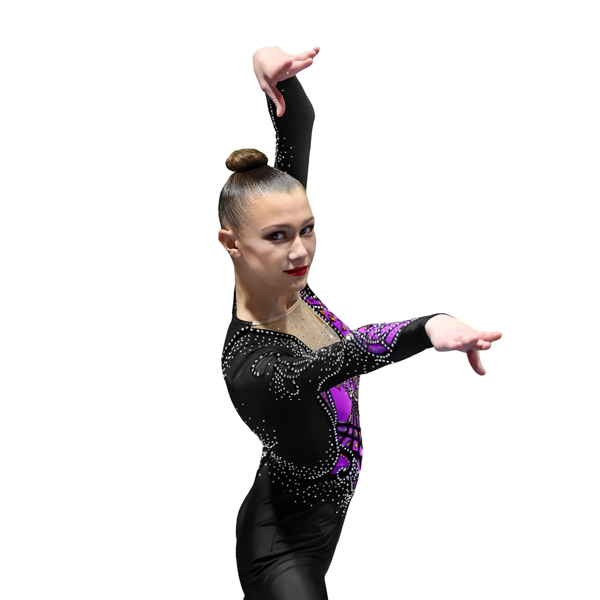 Acrobatic Gymnastics Competitive Jumpsuit № 234 made in black & violet